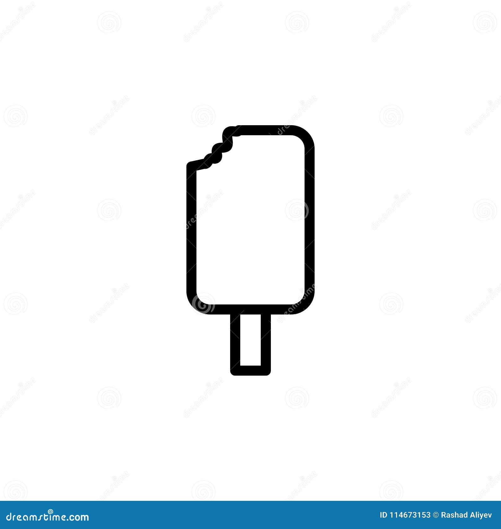 ícone mordido do gelado Elemento de ícones minimalistic para apps móveis do conceito e da Web Linha fina ícone para o projeto e o