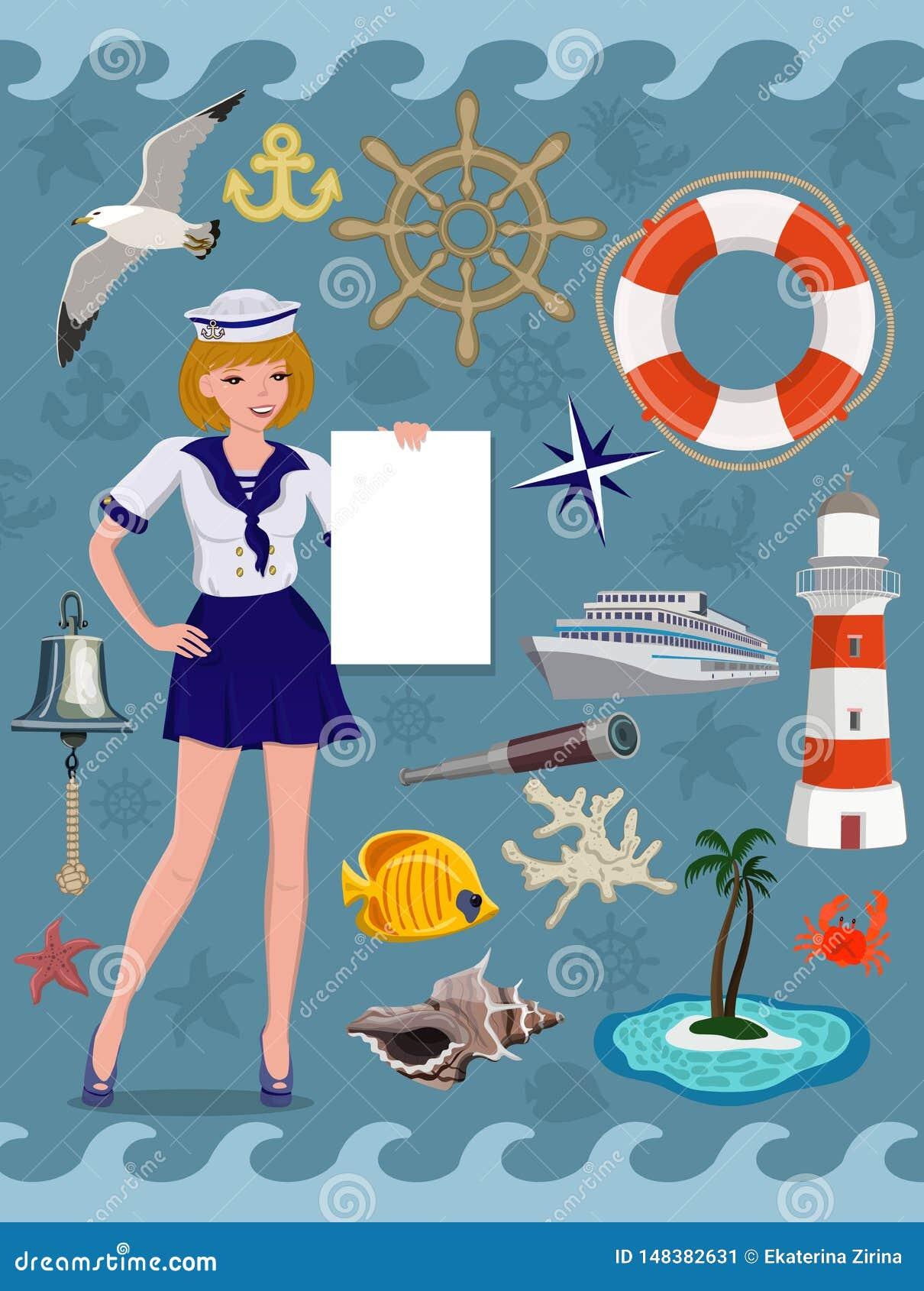 Ícone náutico ajustado, imagens do cruzeiro Elementos do projeto do vetor