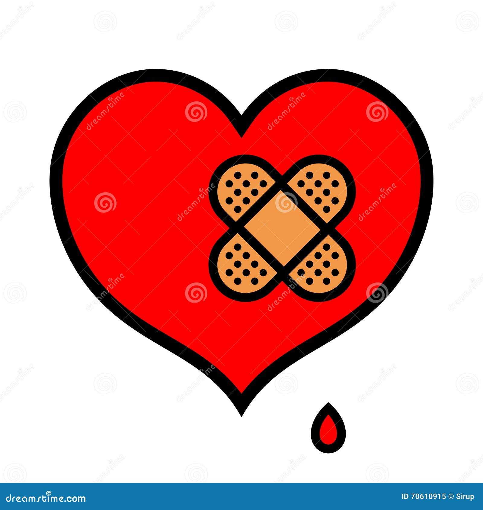 Ícone pequeno ferido do coração com curativo