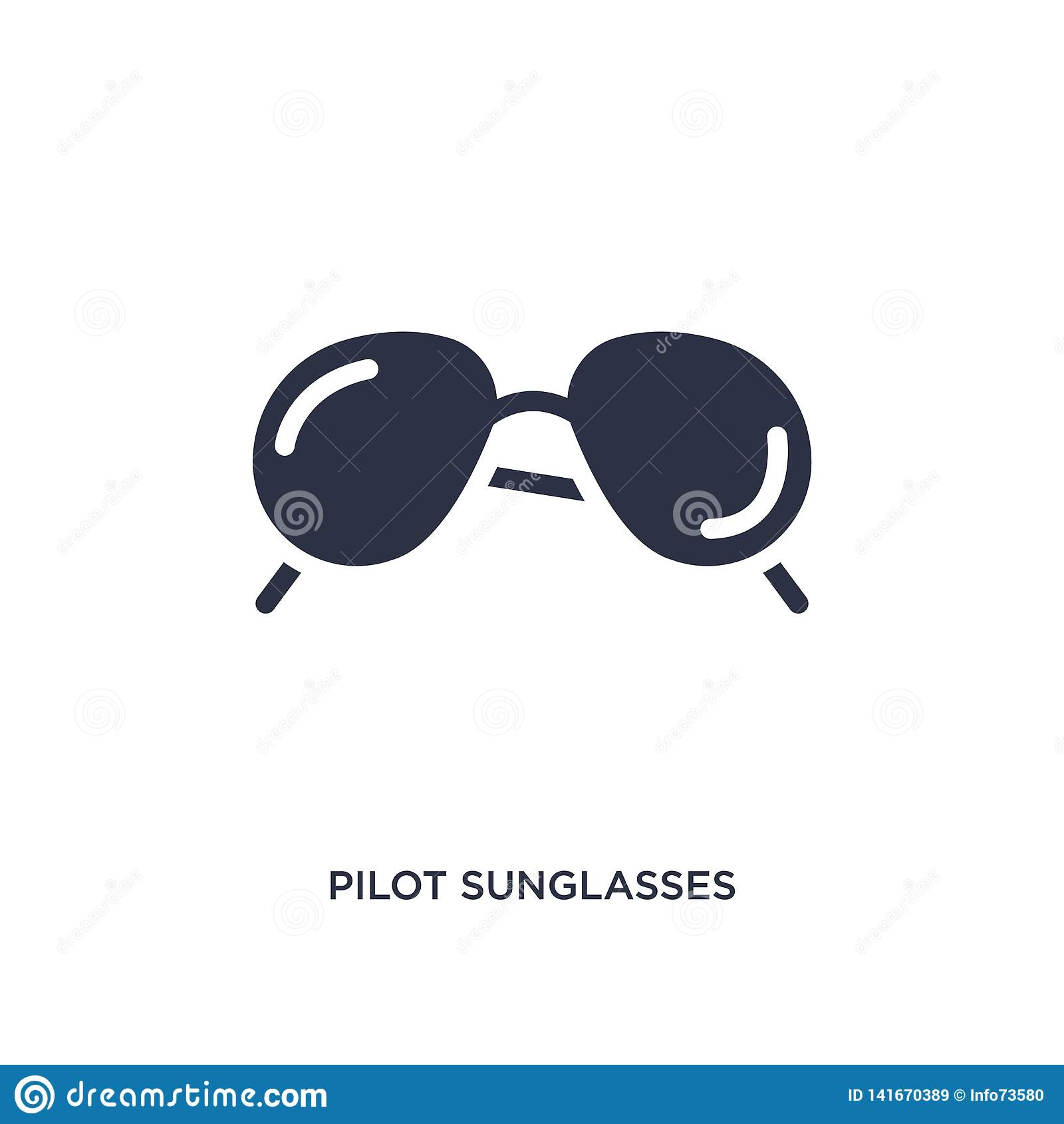 ícone piloto dos óculos de sol no fundo branco Ilustração simples do elemento do conceito da roupa