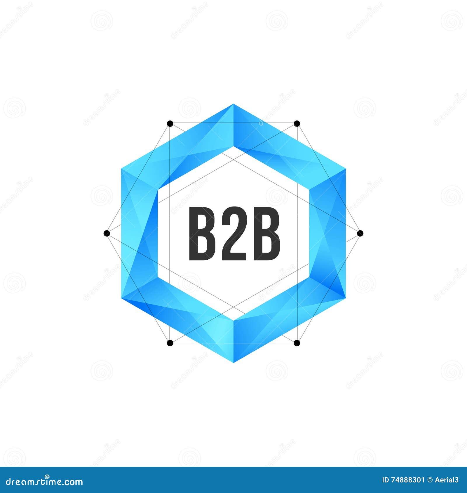 Ícone poligonal azul do hexágono com malha e pontos