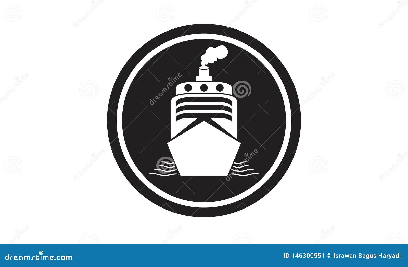 Ícone portuário do ‹do †do ‹do †do mar do navio simples e elegante