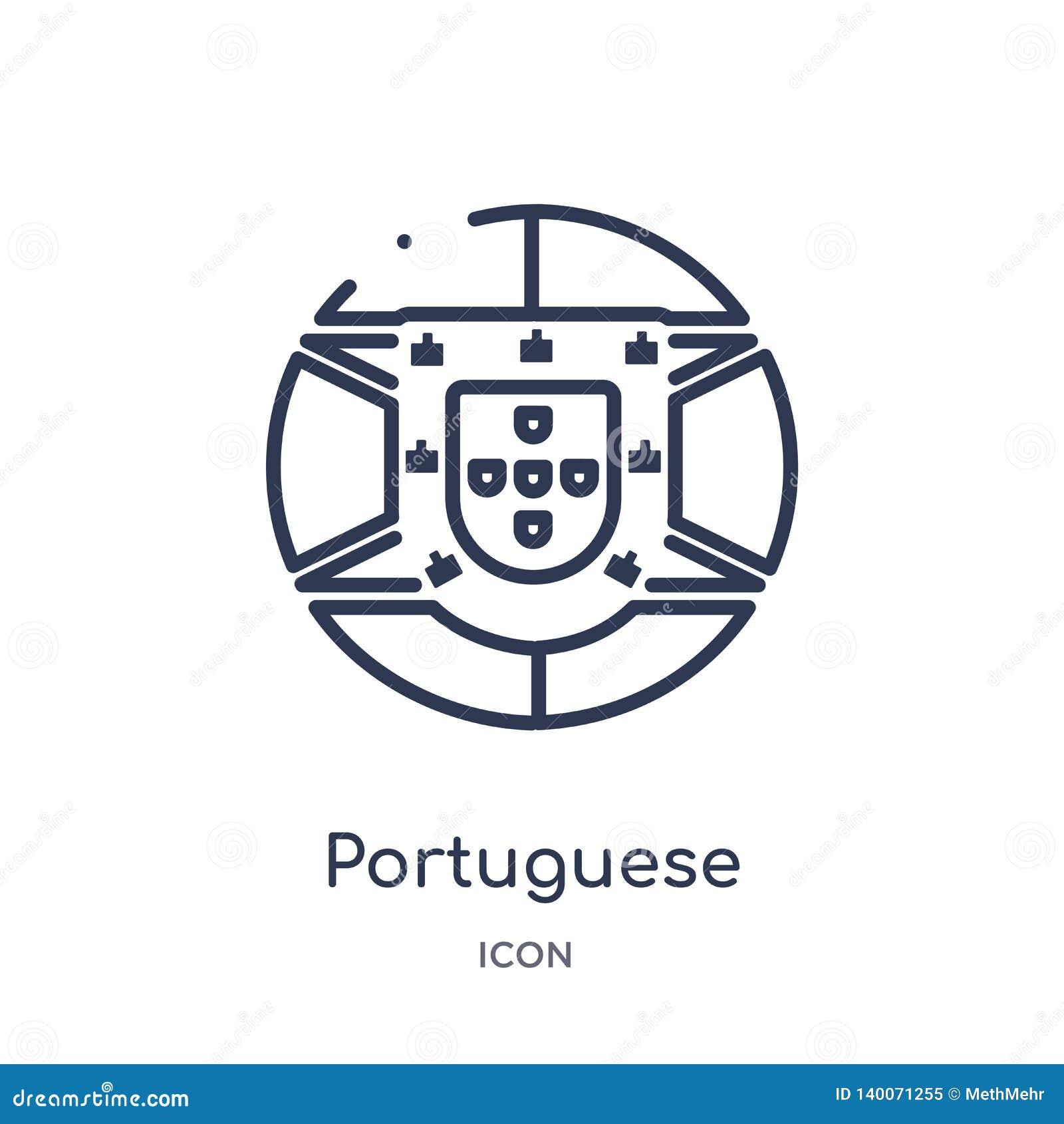 Ícone português linear da coleção do esboço das culturas Linha fina ícone português isolado no fundo branco na moda português