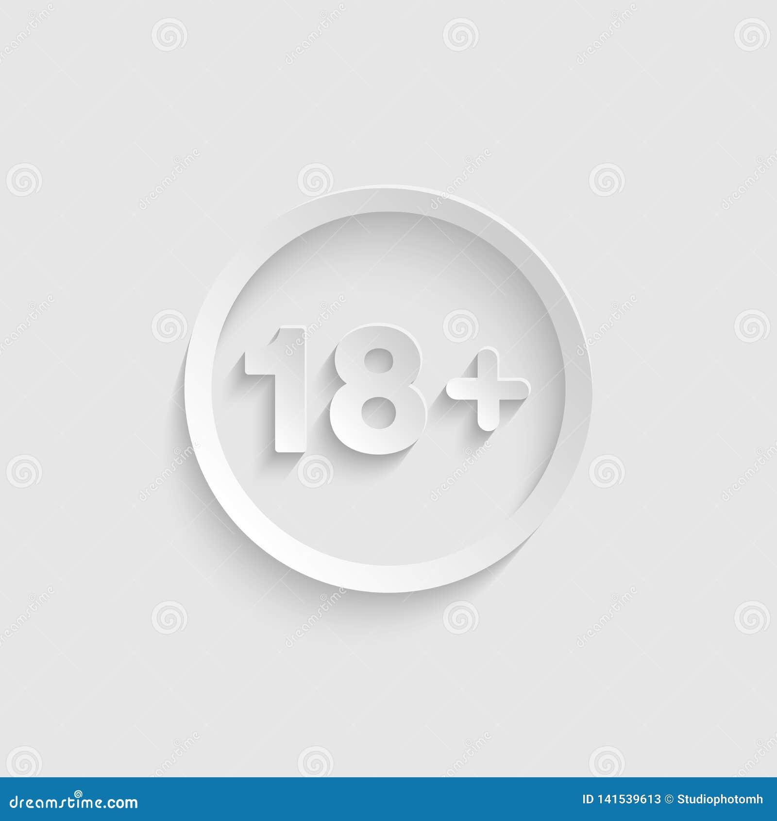 ícone 18 positivo no estilo de papel 3d isolado no vetor do fundo