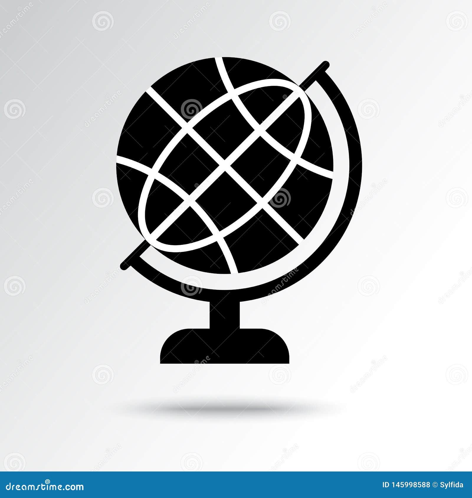 Ícone preto e branco do globo do mundo Ilustra??o do vetor