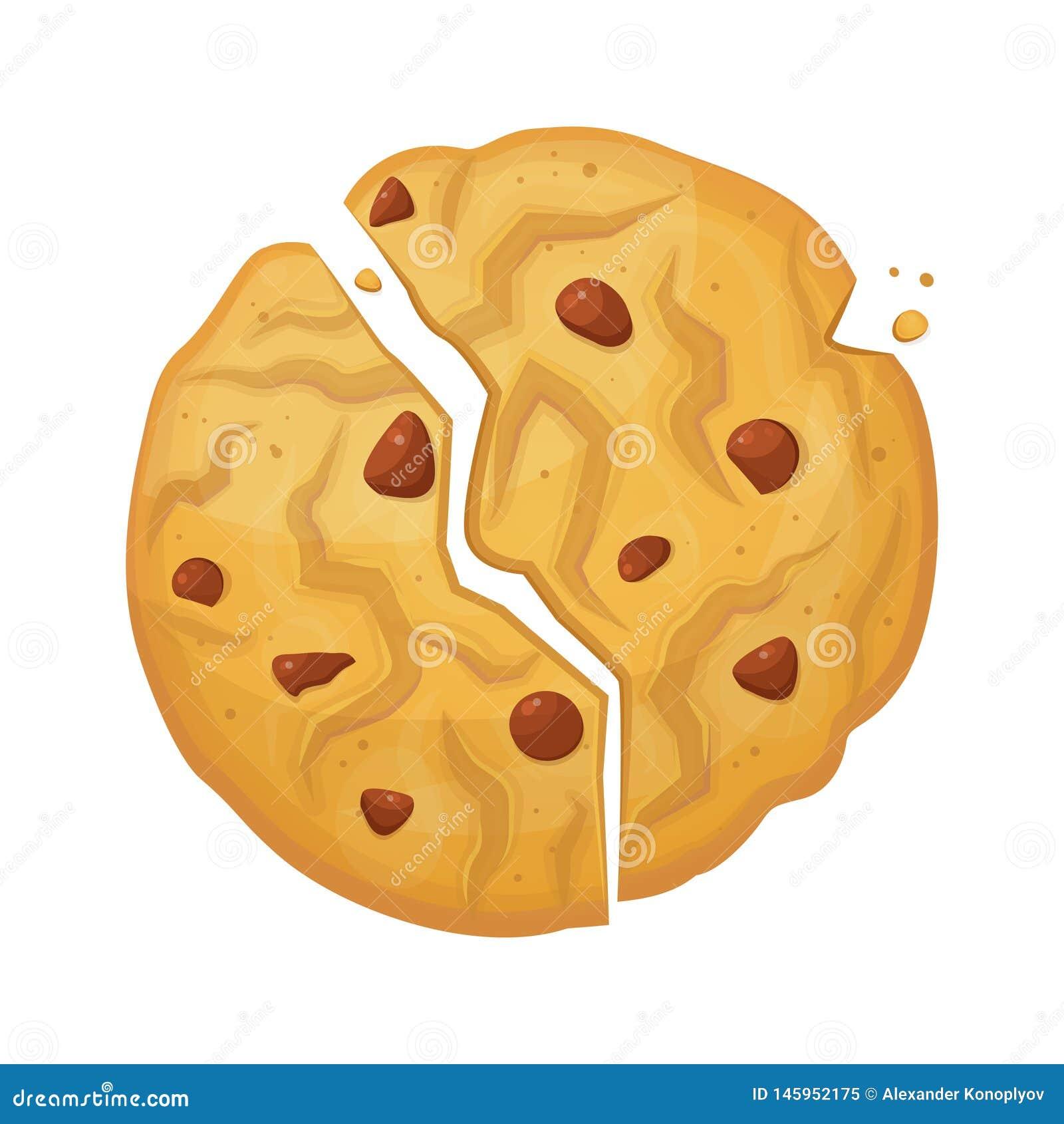 Ícone quebrado do biscoito da farinha de aveia, petisco cozido friável