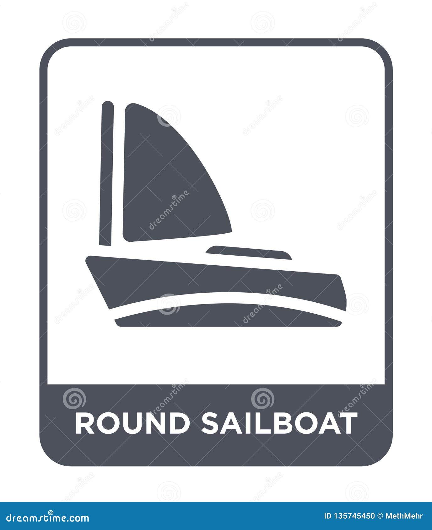 ícone redondo do veleiro no estilo na moda do projeto ícone redondo do veleiro isolado no fundo branco ícone redondo do vetor do