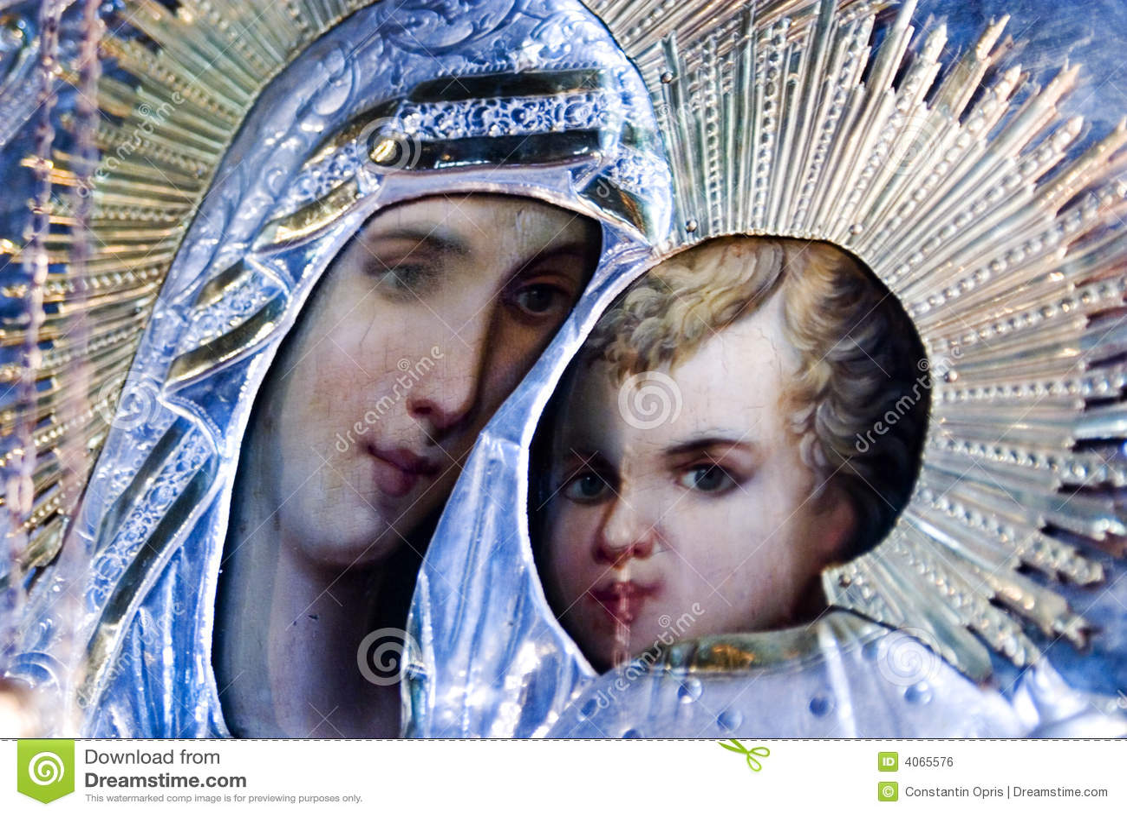 Ícone religioso de Mary e de Jesus