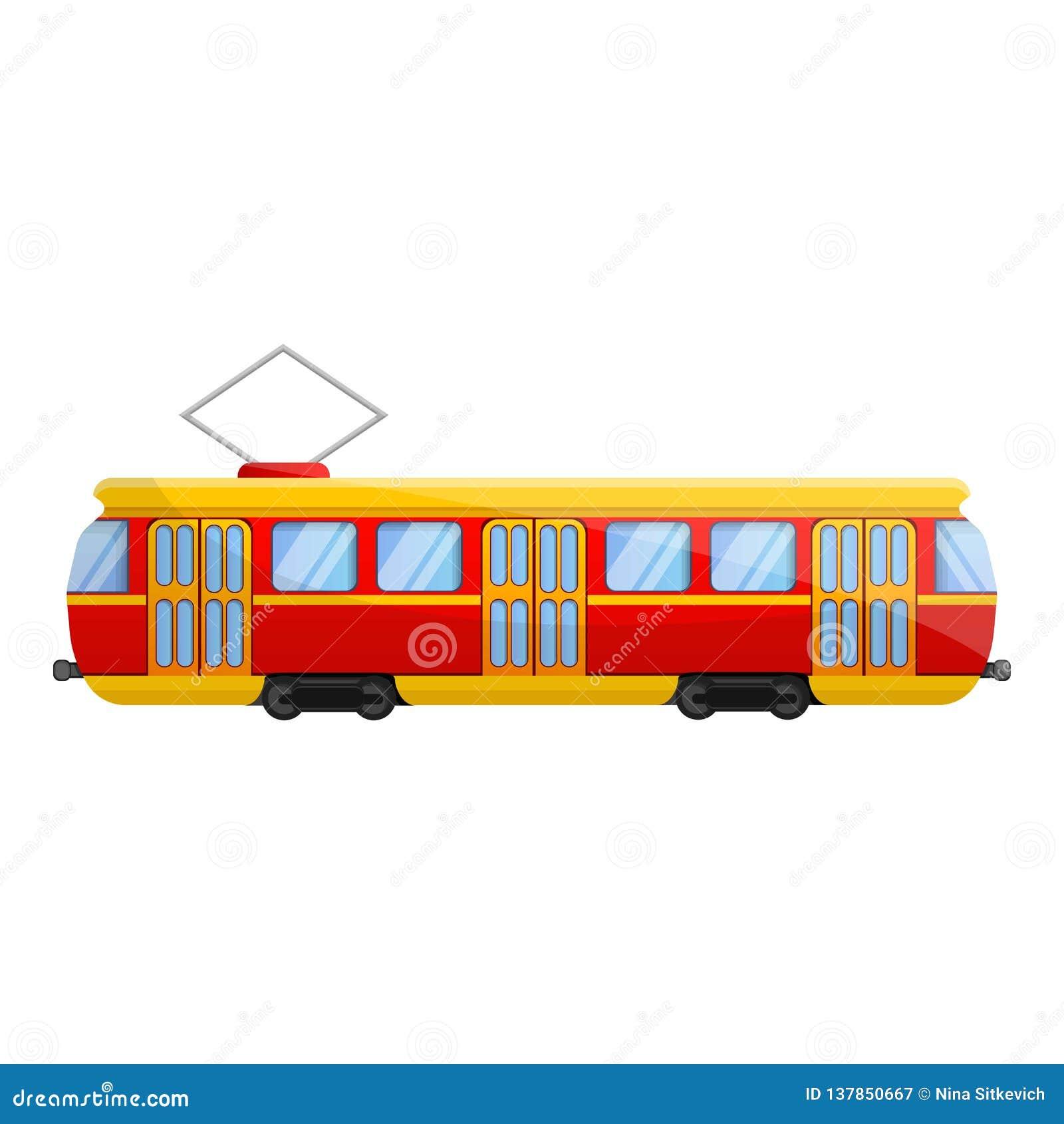 Ícone retro do carro do bonde, estilo dos desenhos animados