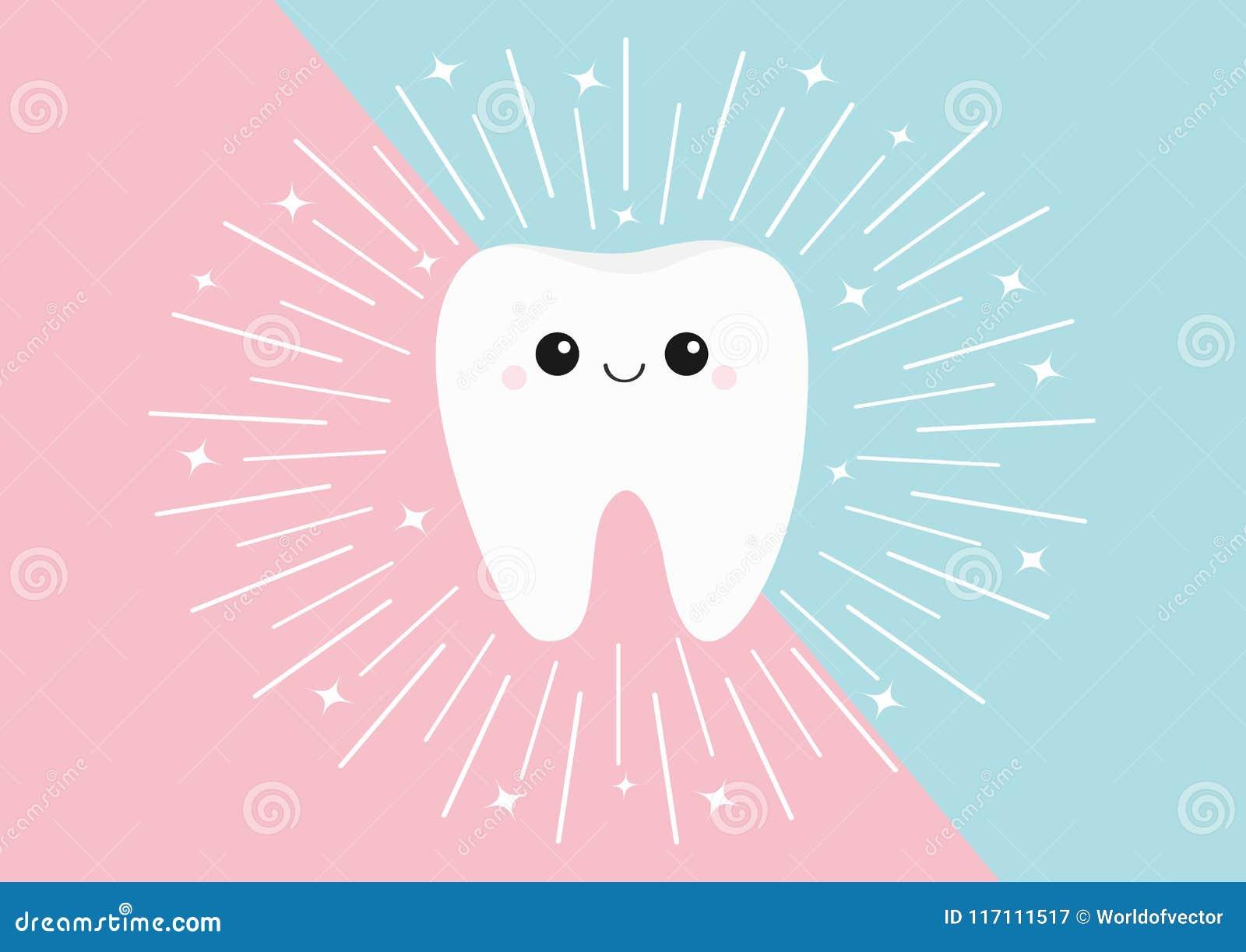 Ícone saudável do dente Cara bonito do kawaii com olhos e sorriso Linha redonda círculo Projeto liso Higiene dental oral Cuidado