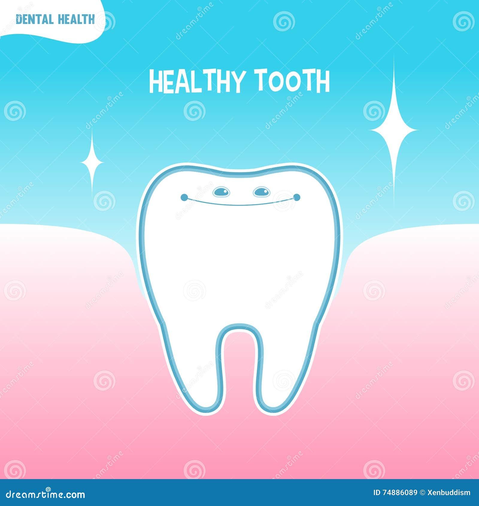 Ícone saudável do dente dos desenhos animados