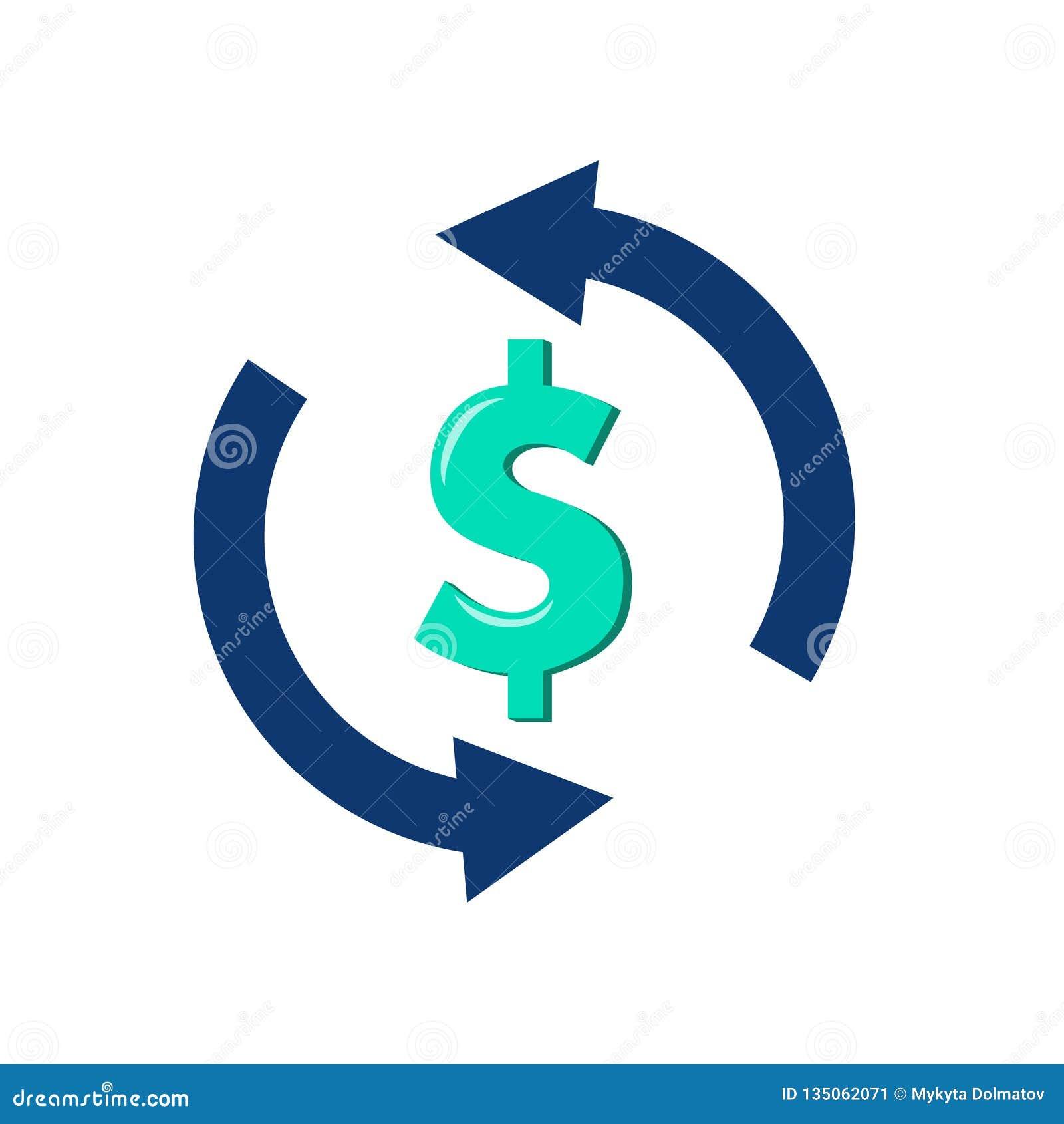 Ícone simples da troca de moeda Sinal de transferência de dinheiro Dólar no símbolo da seta da rotação Elementos do projeto da qu