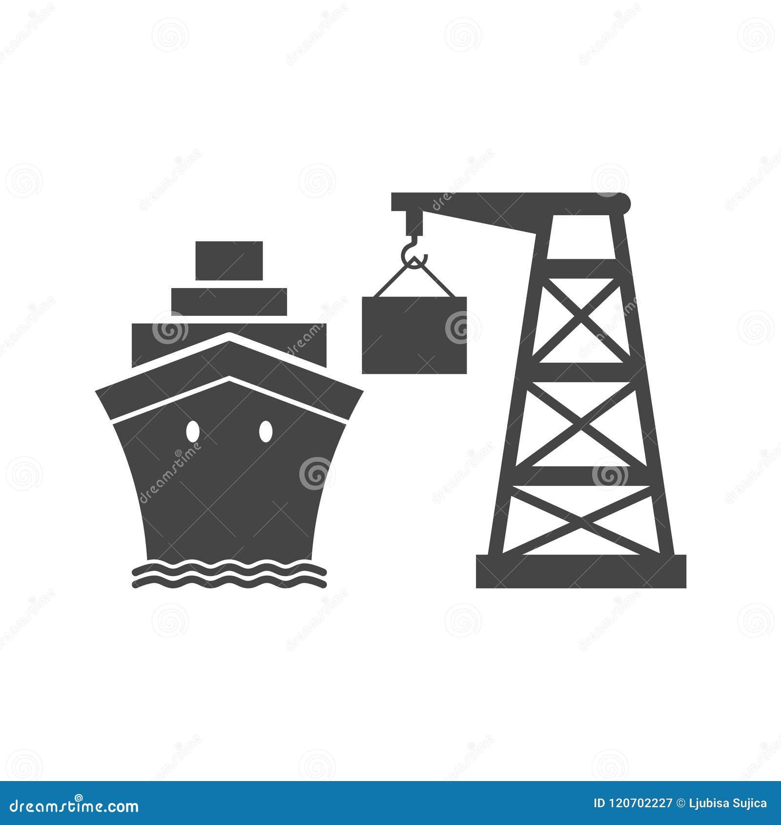 Ícone simples do porto do comércio de mar