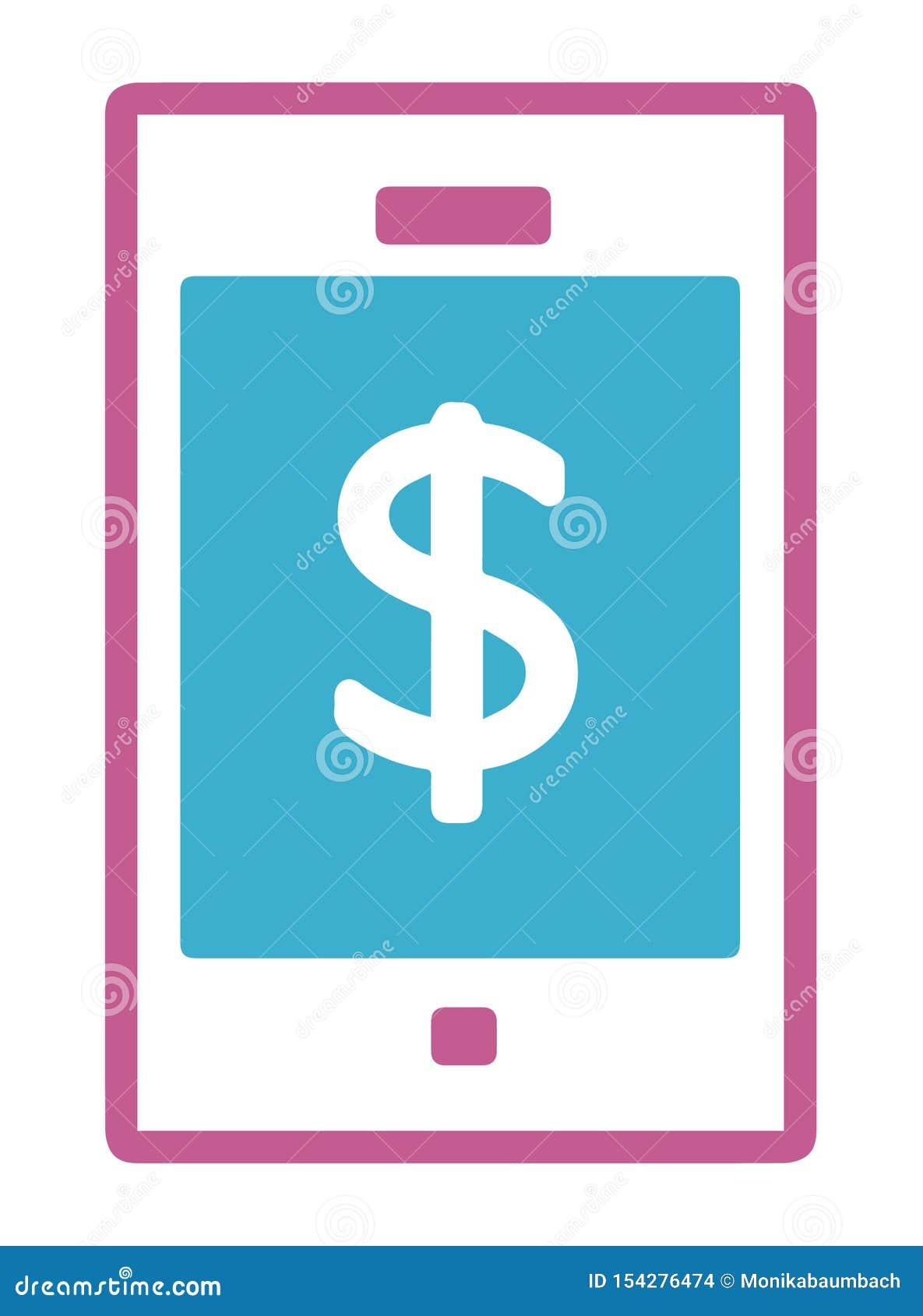 Ícone simples do vetor de um telefone celular com sinal de dólar