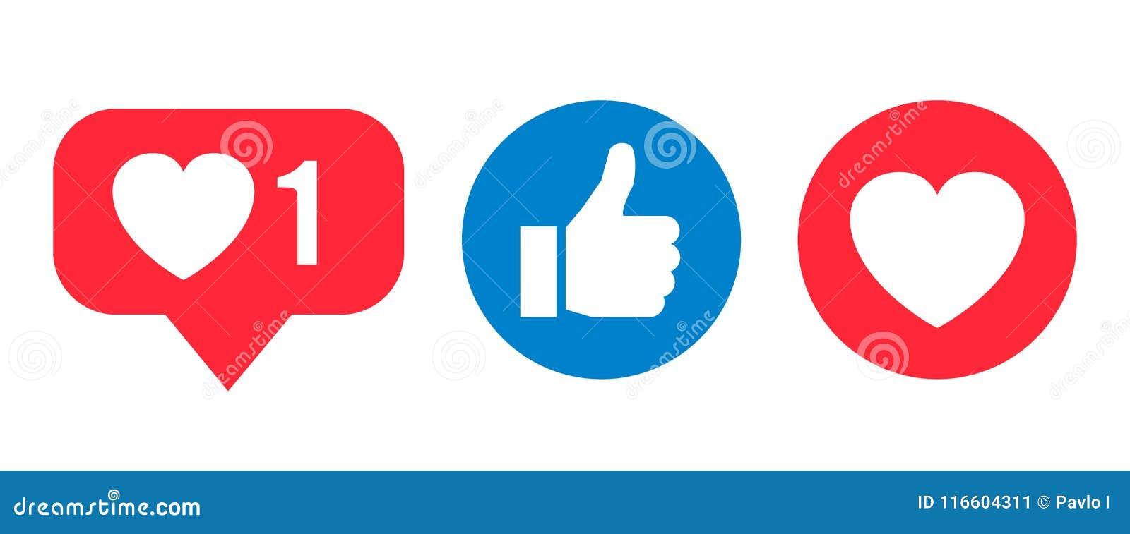 Ícone social das reações da rede, como, coração - vetor