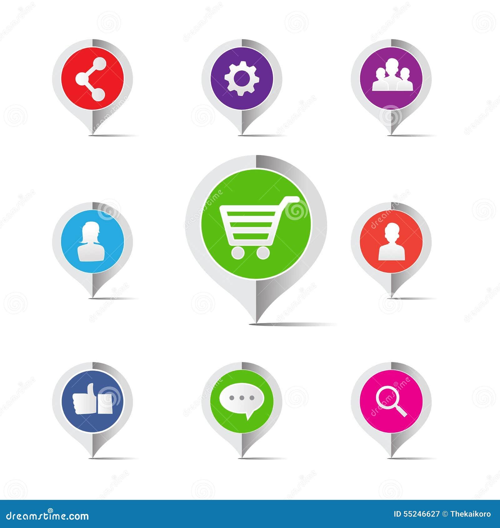 Ícone social do conceito do mercado da rede do carrinho de compras - vector o mal