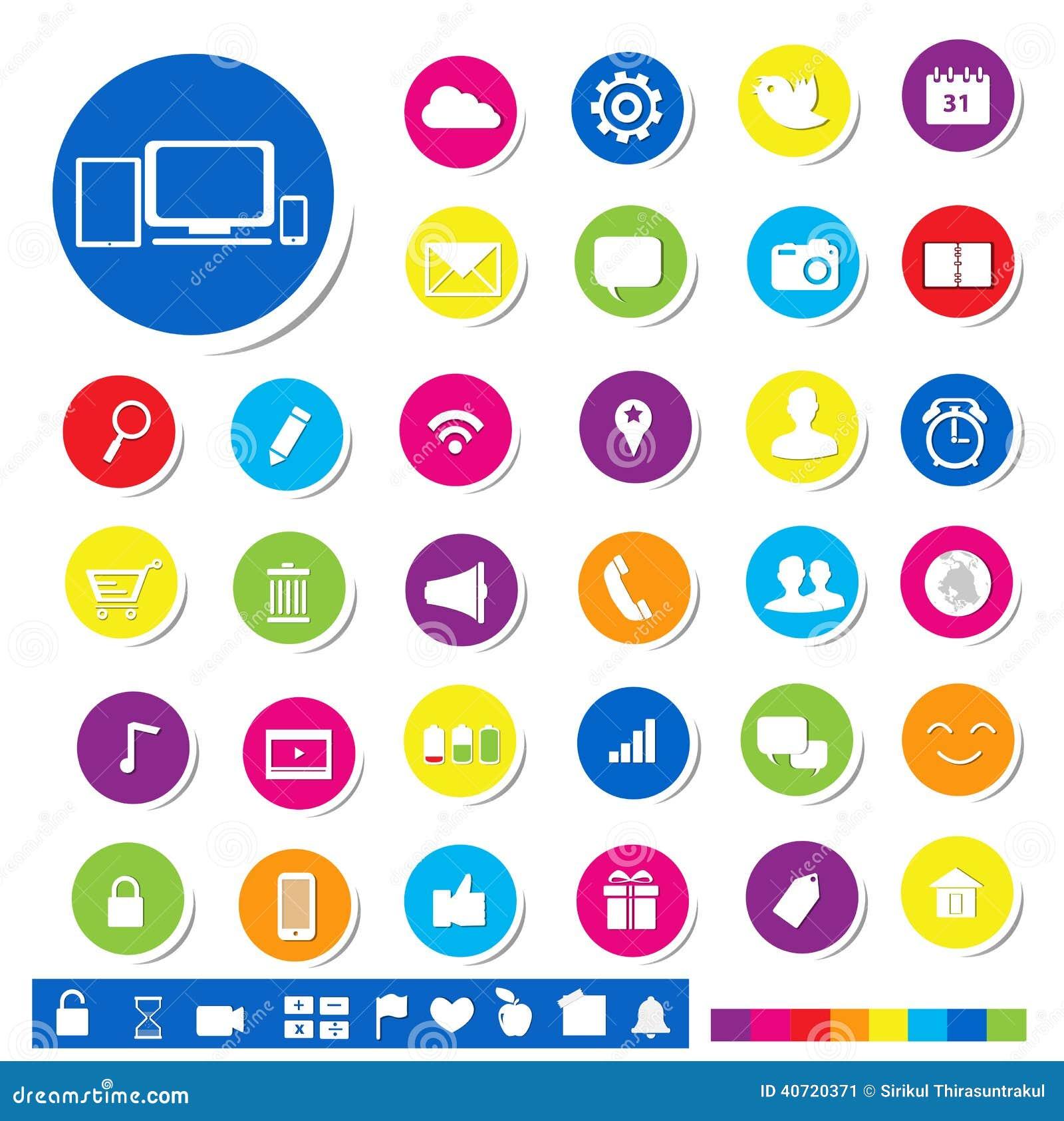 Ícone social dos meios para o conceito em linha do mercado