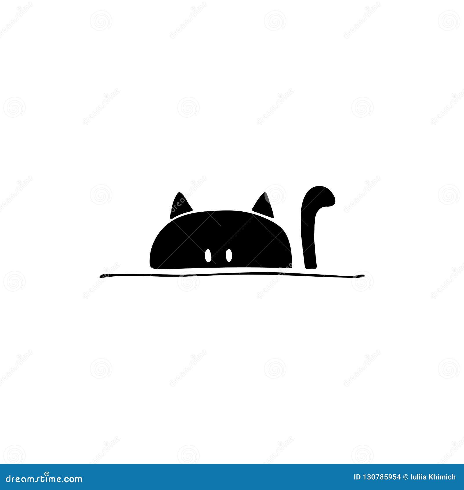 Ícone tirado mão do vetor, cabeça de um gato Elemento do logotipo para negócio relacionado dos animais de estimação