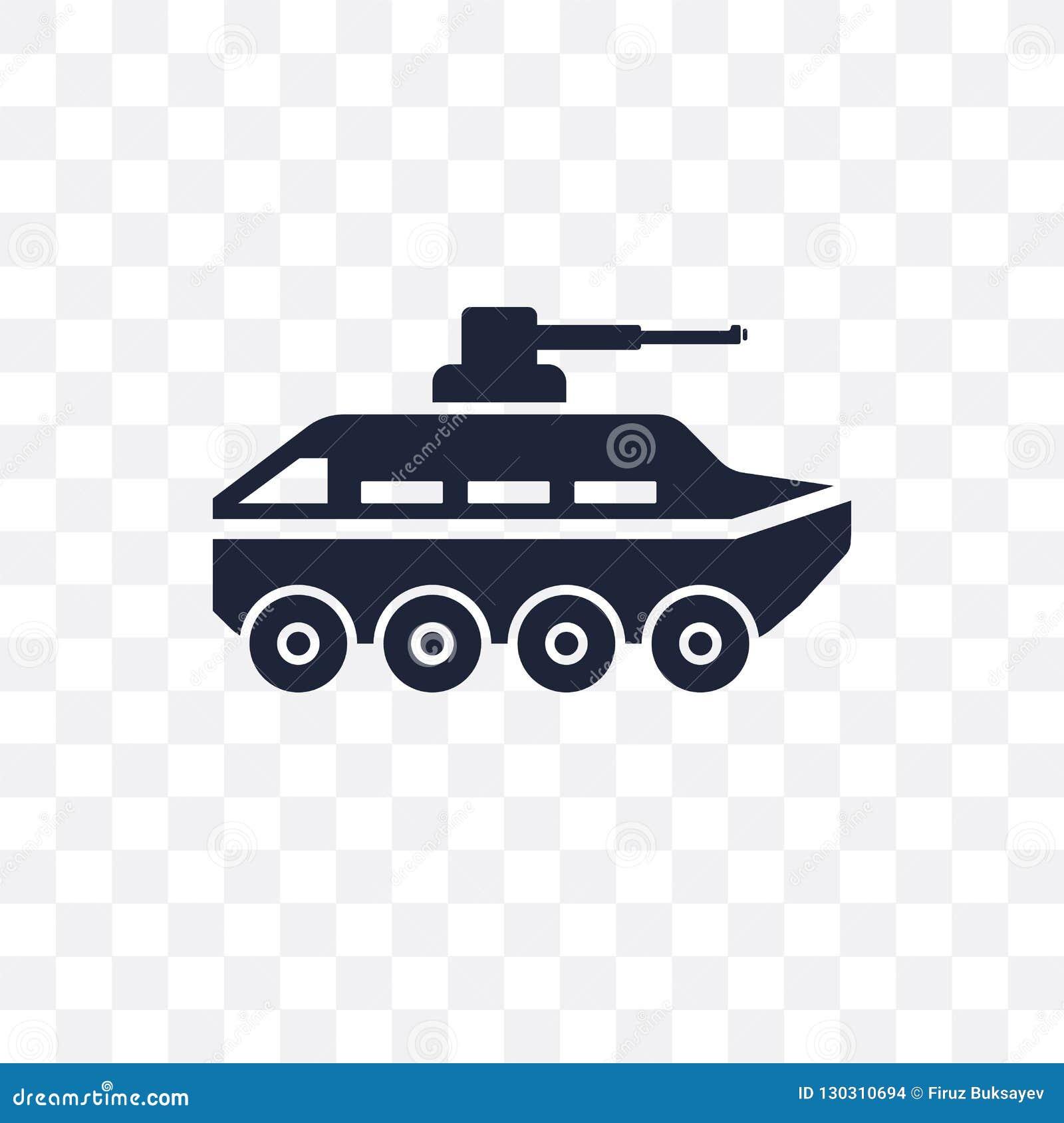 Ícone transparente do veículo blindado Projeto do símbolo do veículo blindado