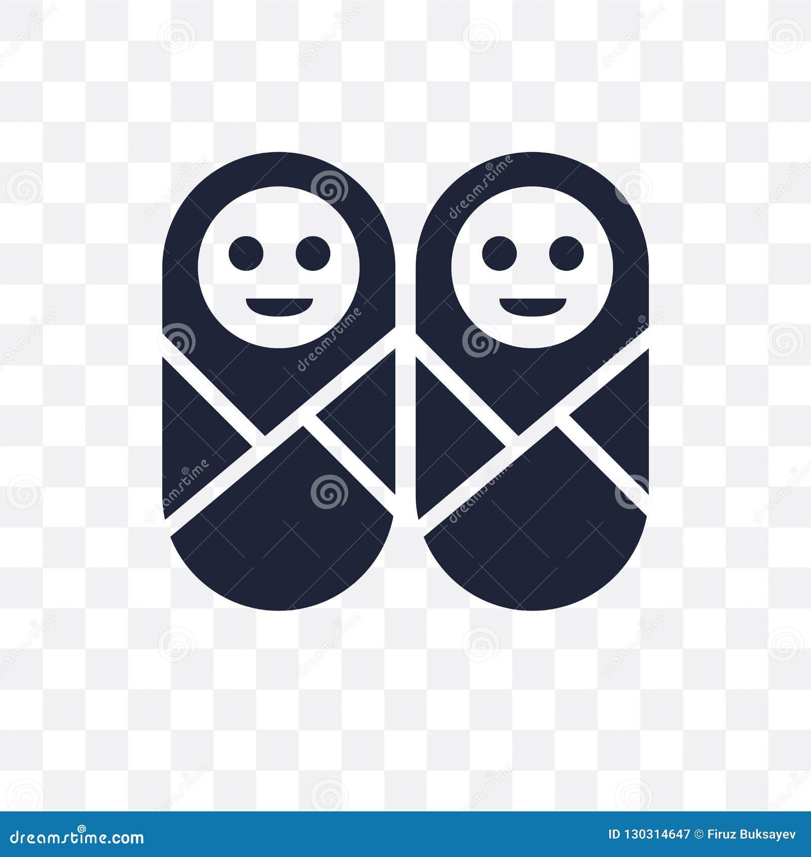 Ícone transparente dos gêmeos Projeto do símbolo dos gêmeos do collecti dos povos