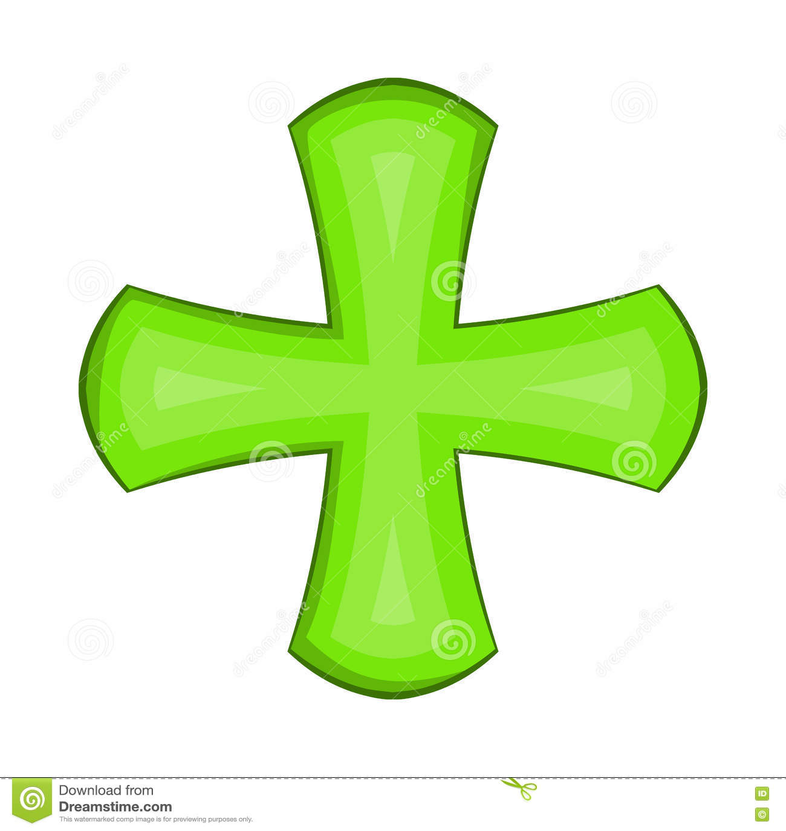 Ícone transversal verde no estilo dos desenhos animados