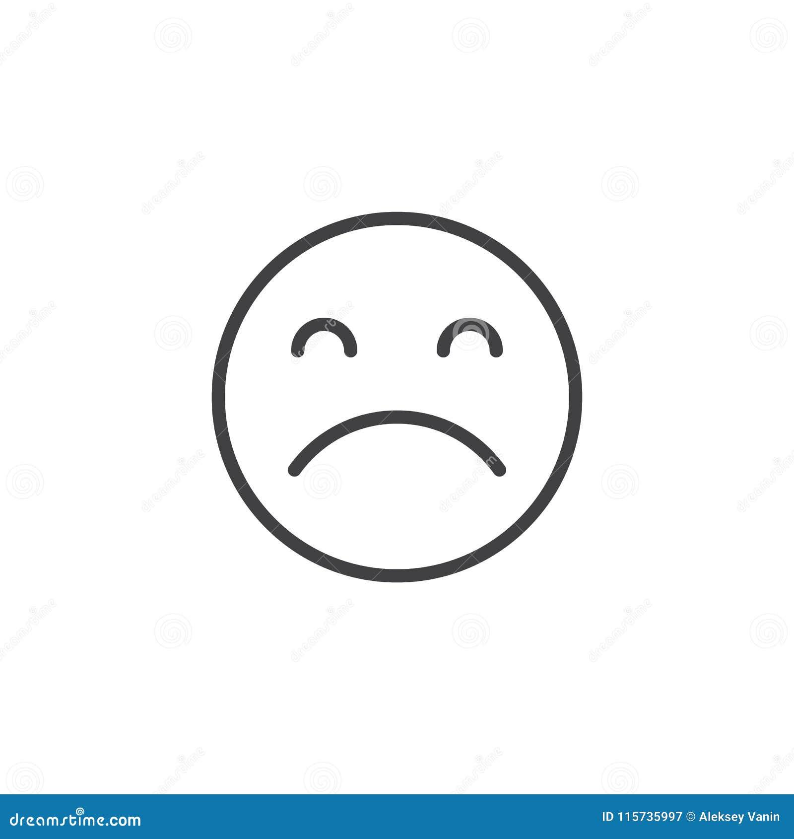 Ícone triste do esboço da emoção