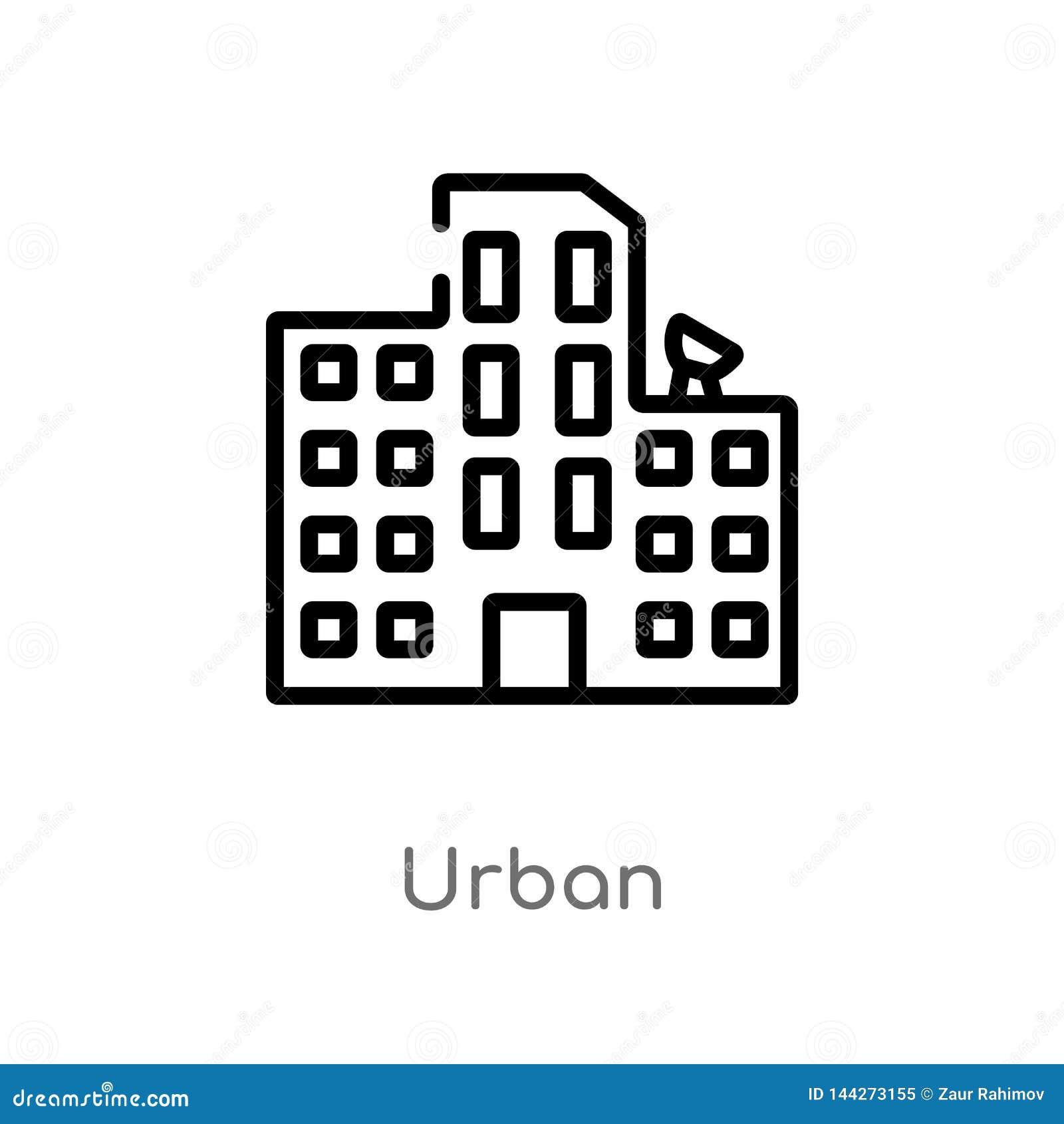 ícone urbano do vetor do esboço linha simples preta isolada ilustração do elemento do conceito das construções curso editável do