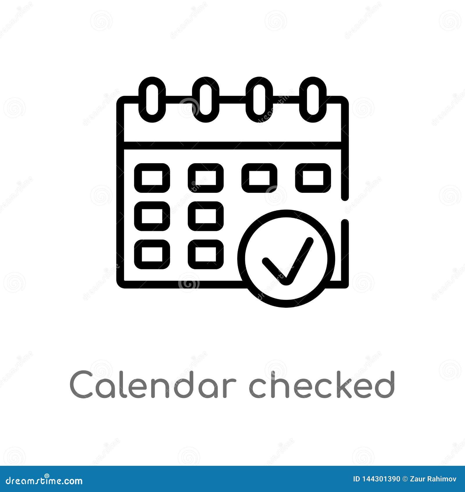 ícone verificado calendário do vetor do esboço linha simples preta isolada ilustra??o do elemento do conceito final dos glyphicon