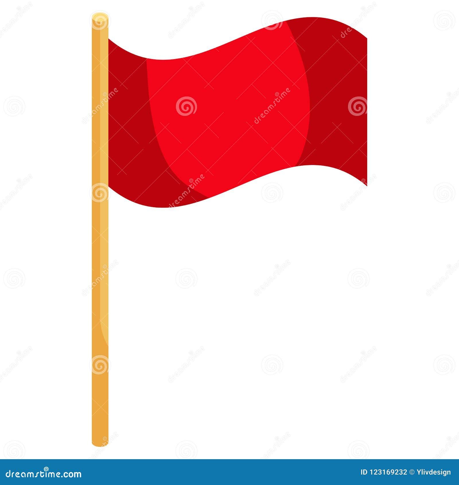 Ícone vermelho da bandeira do canto do futebol, estilo dos desenhos animados