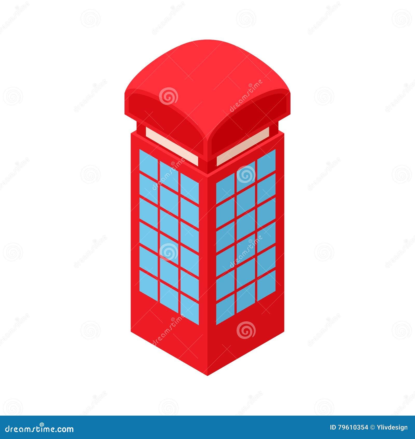 Ícone vermelho da caixa de telefone, estilo dos desenhos animados