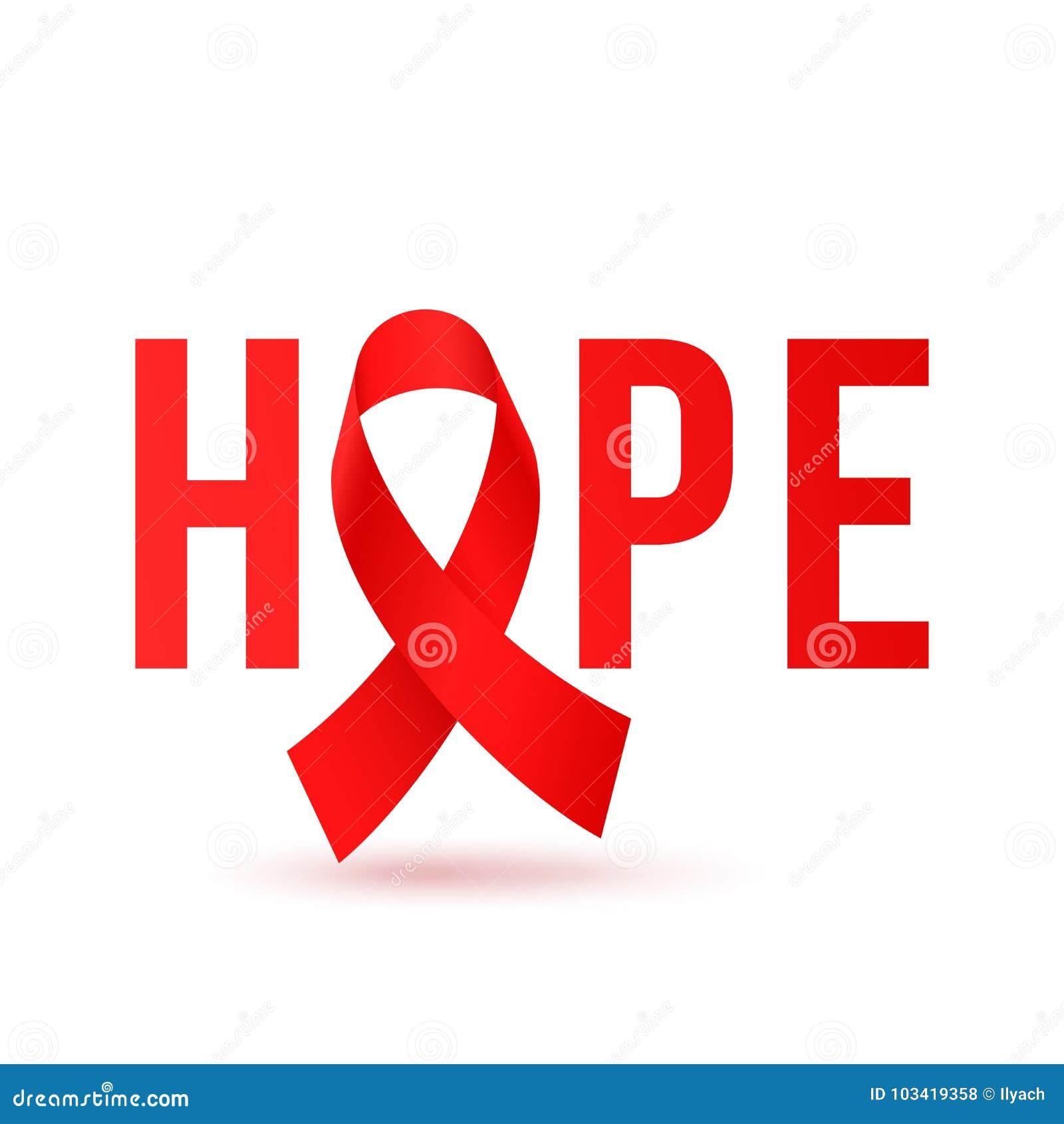 Ícone vermelho do ribbbon da esperança para Dia Mundial do Sida o cartaz do 1º de dezembro ou o molde do projeto da bandeira Vect