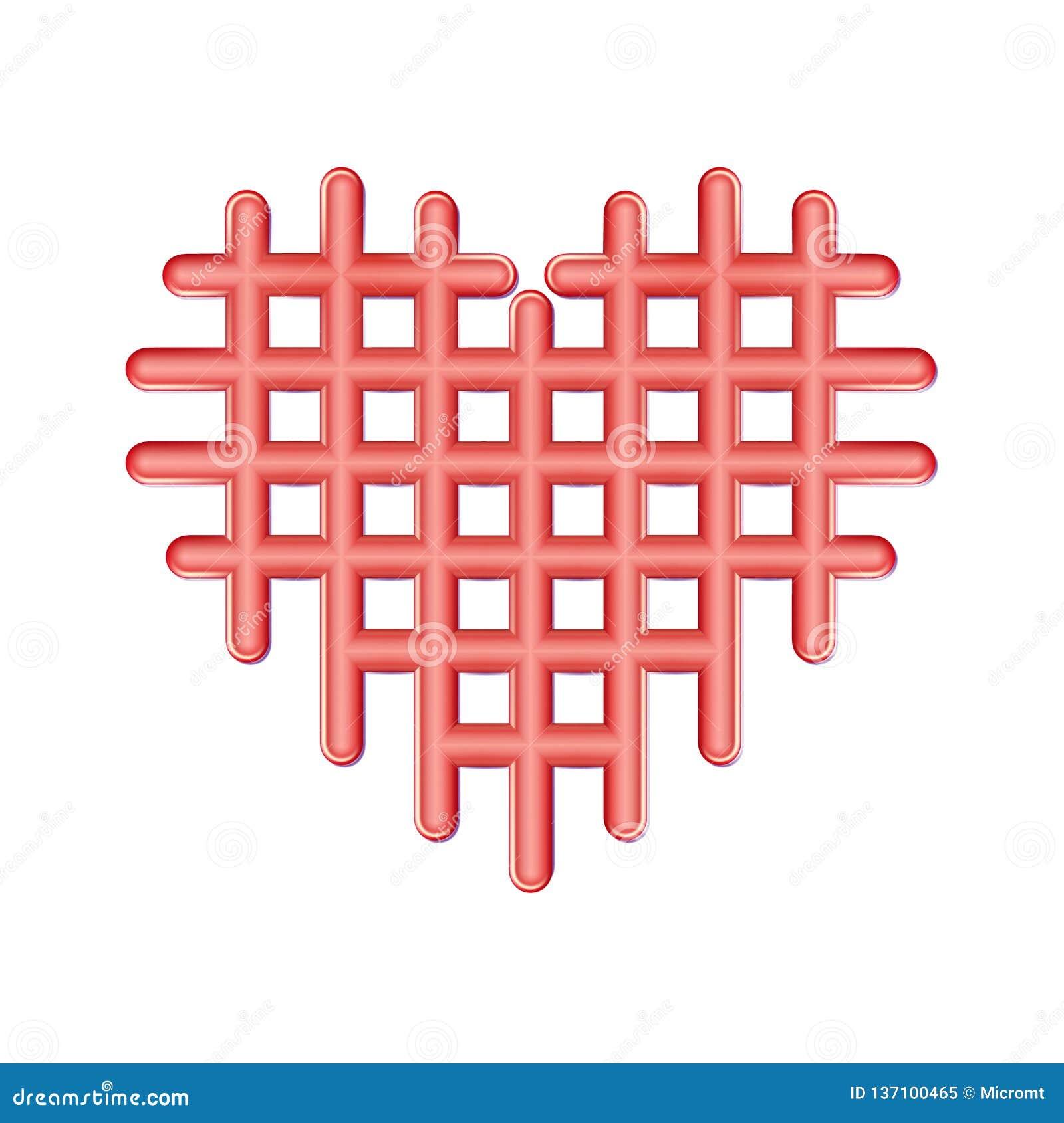 Ícone vermelho perfurado do coração do sumário, símbolo plástico do amor Valentim quadriculados, emblema das pilhas Pictograma si