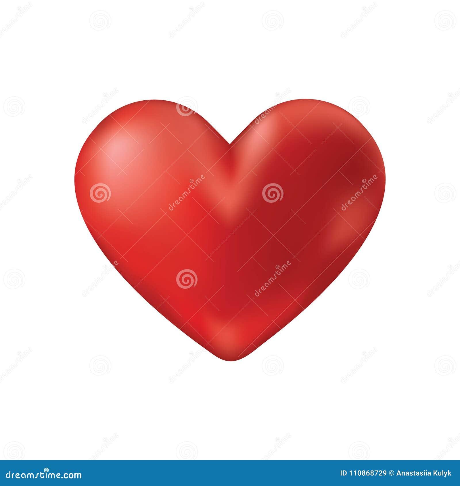 Ícone vermelho realístico do coração do vetor