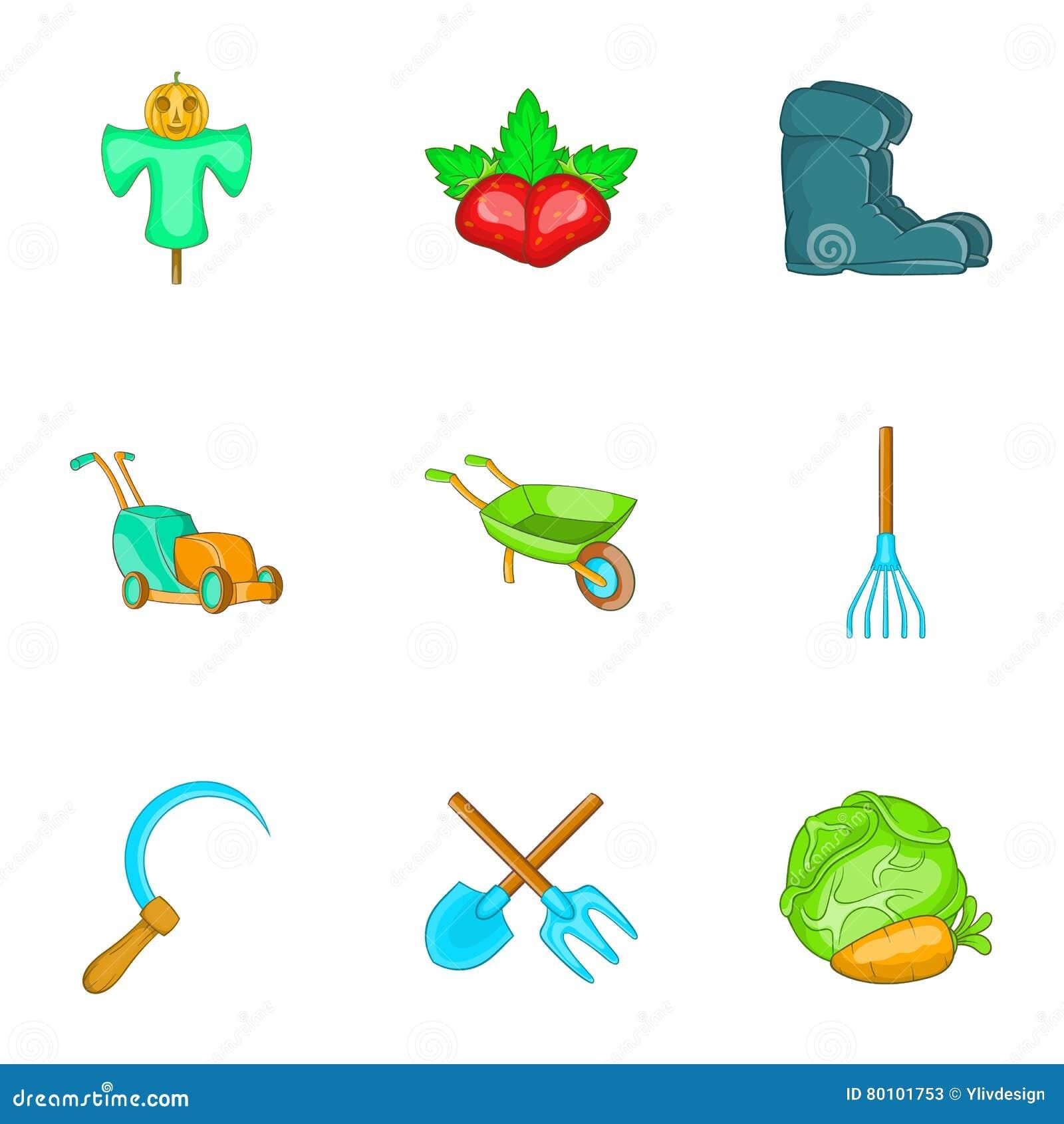 Ícones ajustados, estilo da agricultura dos desenhos animados