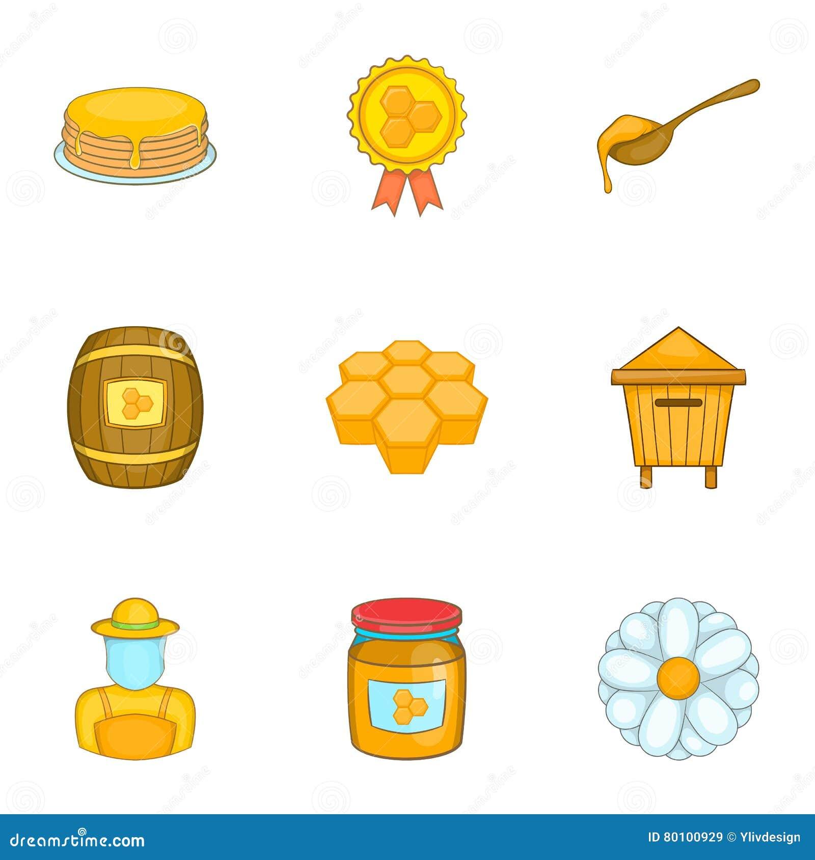 Ícones ajustados, estilo da apicultura dos desenhos animados