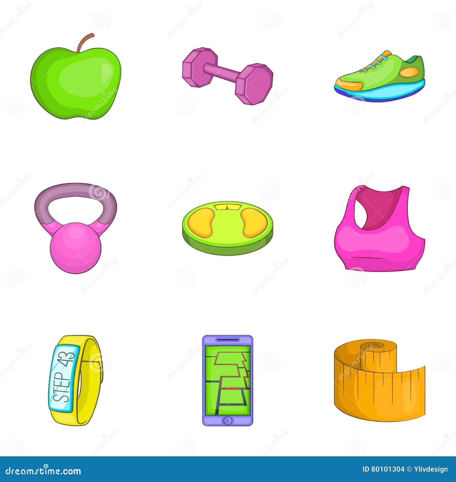 Ícones ajustados, estilo da aptidão dos desenhos animados