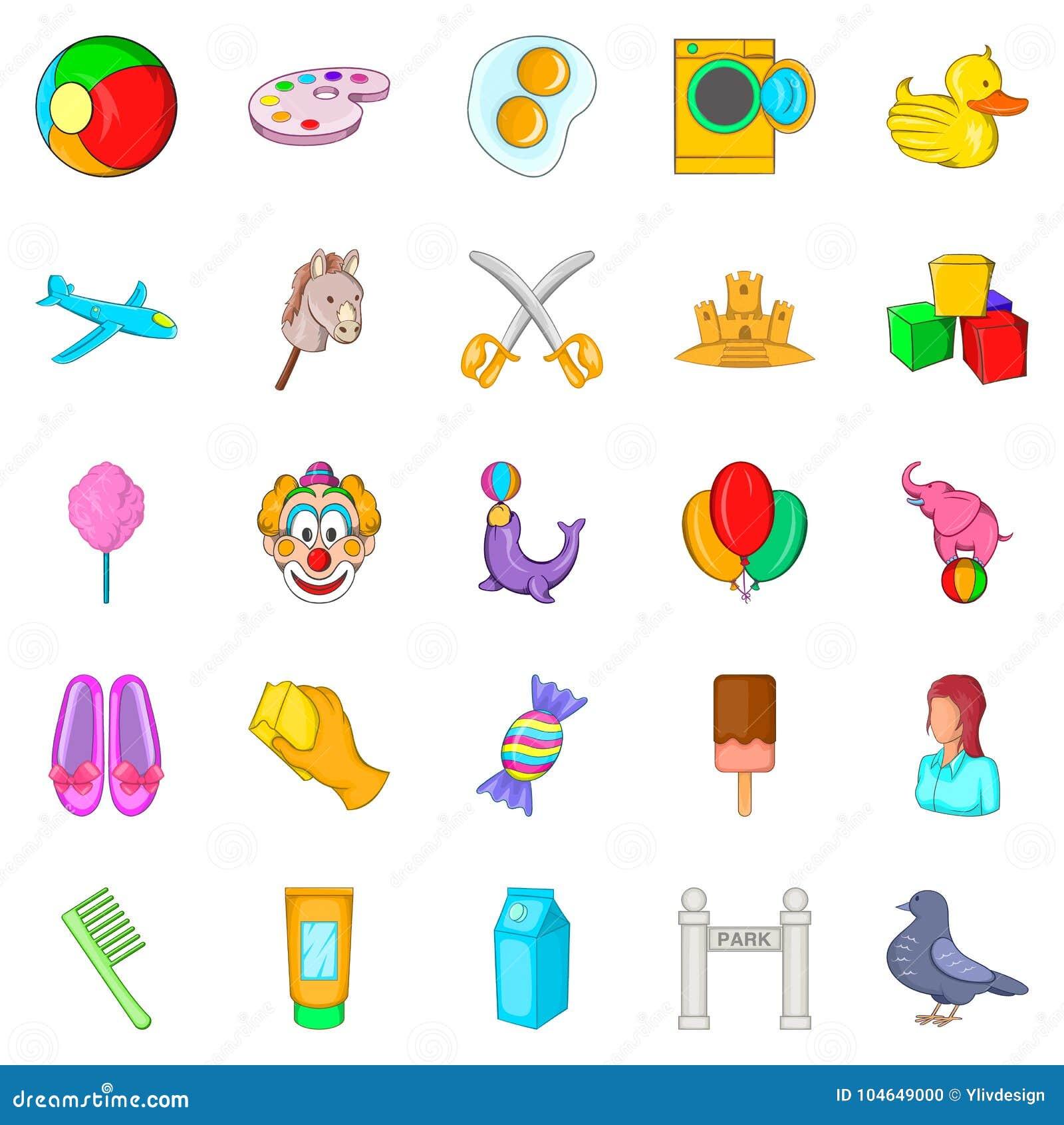 Icones Ajustados Estilo Da Baby Sitter Dos Desenhos Animados