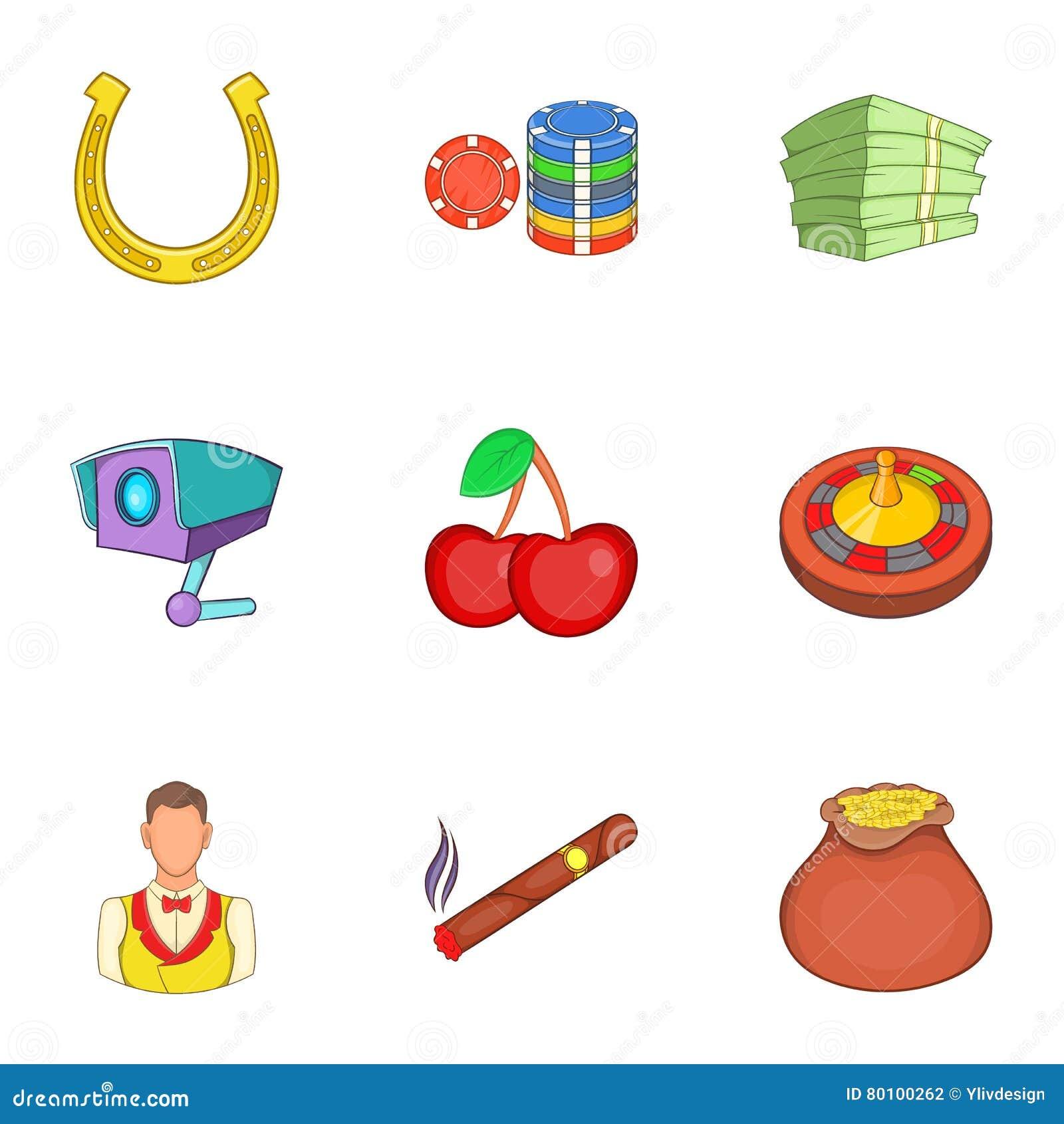 Ícones ajustados, estilo da casa de jogo dos desenhos animados