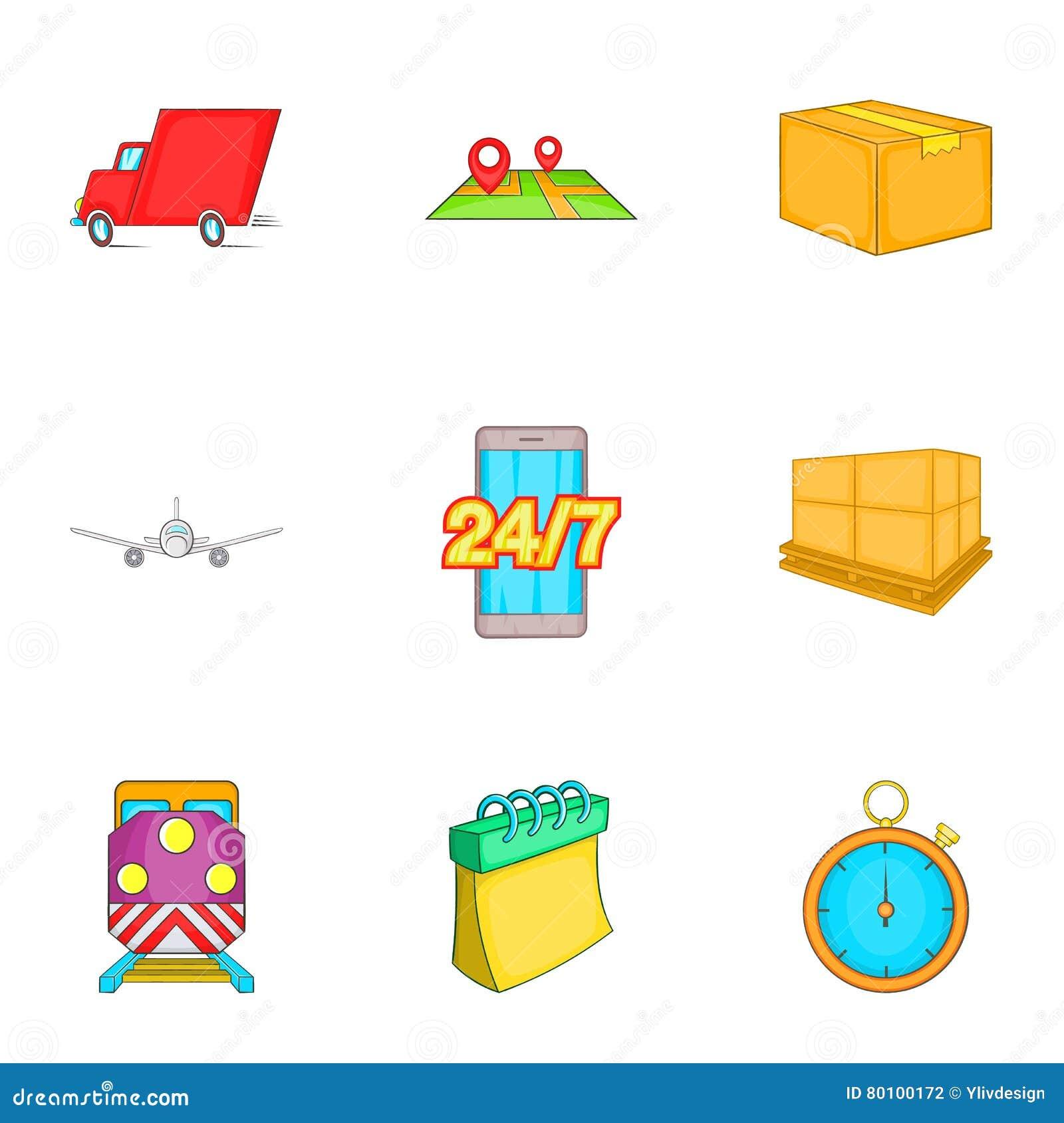 Ícones ajustados, estilo da entrega dos desenhos animados