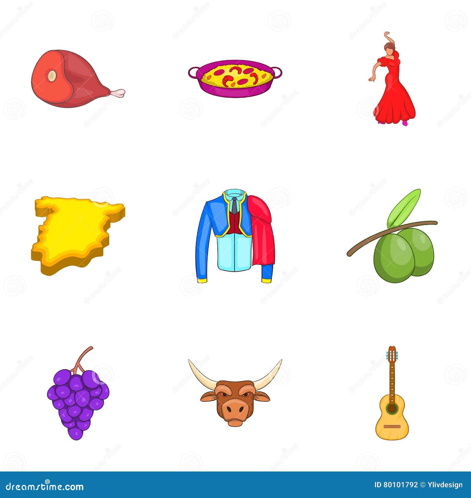 Ícones ajustados, estilo da Espanha do país dos desenhos animados
