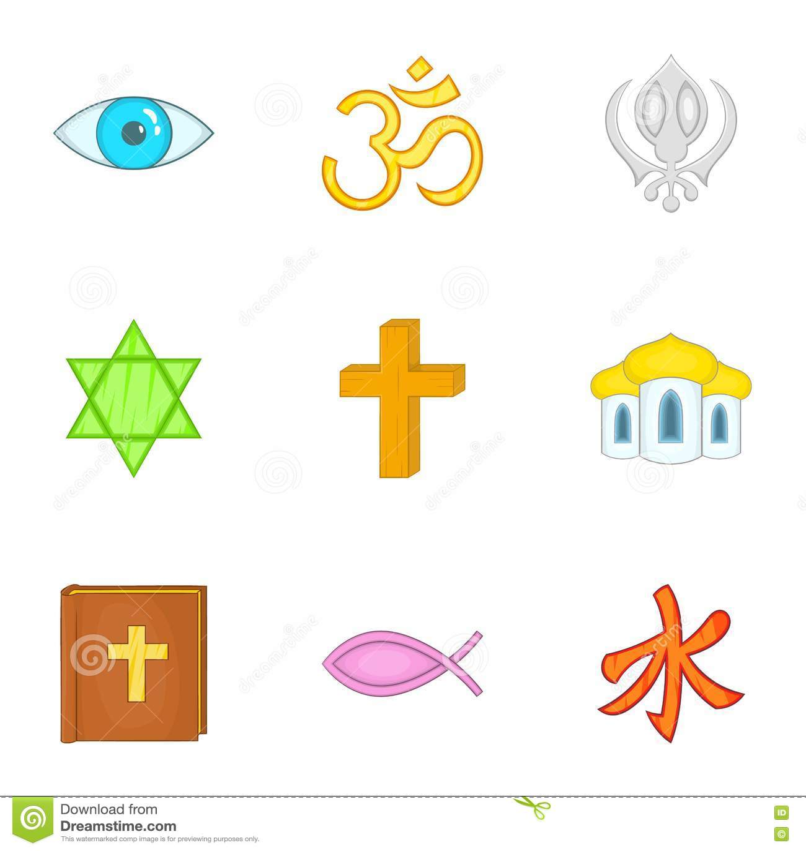 Ícones ajustados, estilo da espiritualidade dos desenhos animados