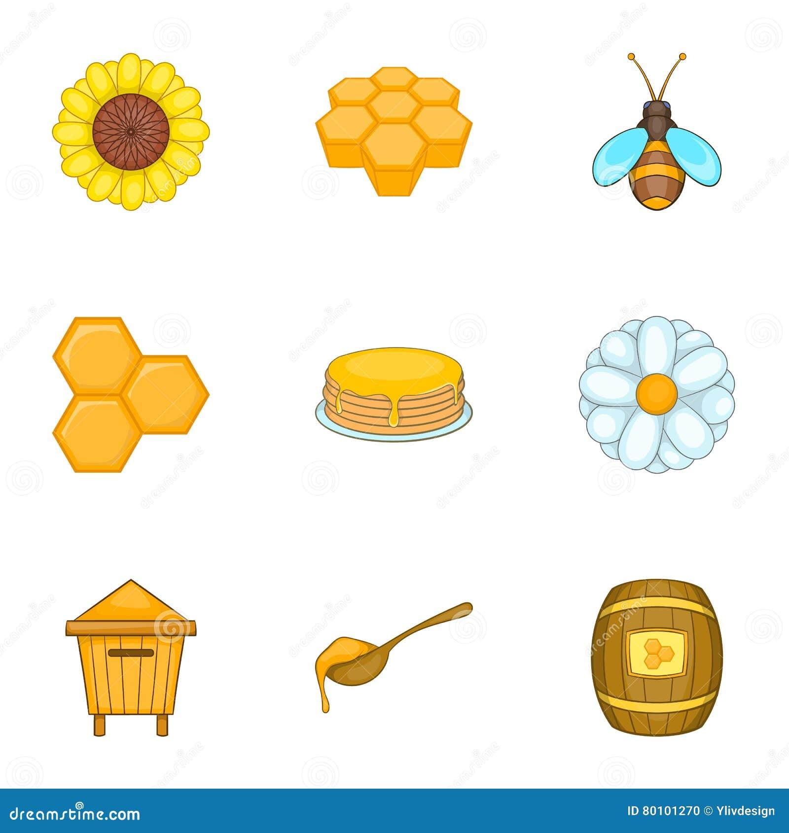 Ícones ajustados, estilo da exploração agrícola da apicultura dos desenhos animados