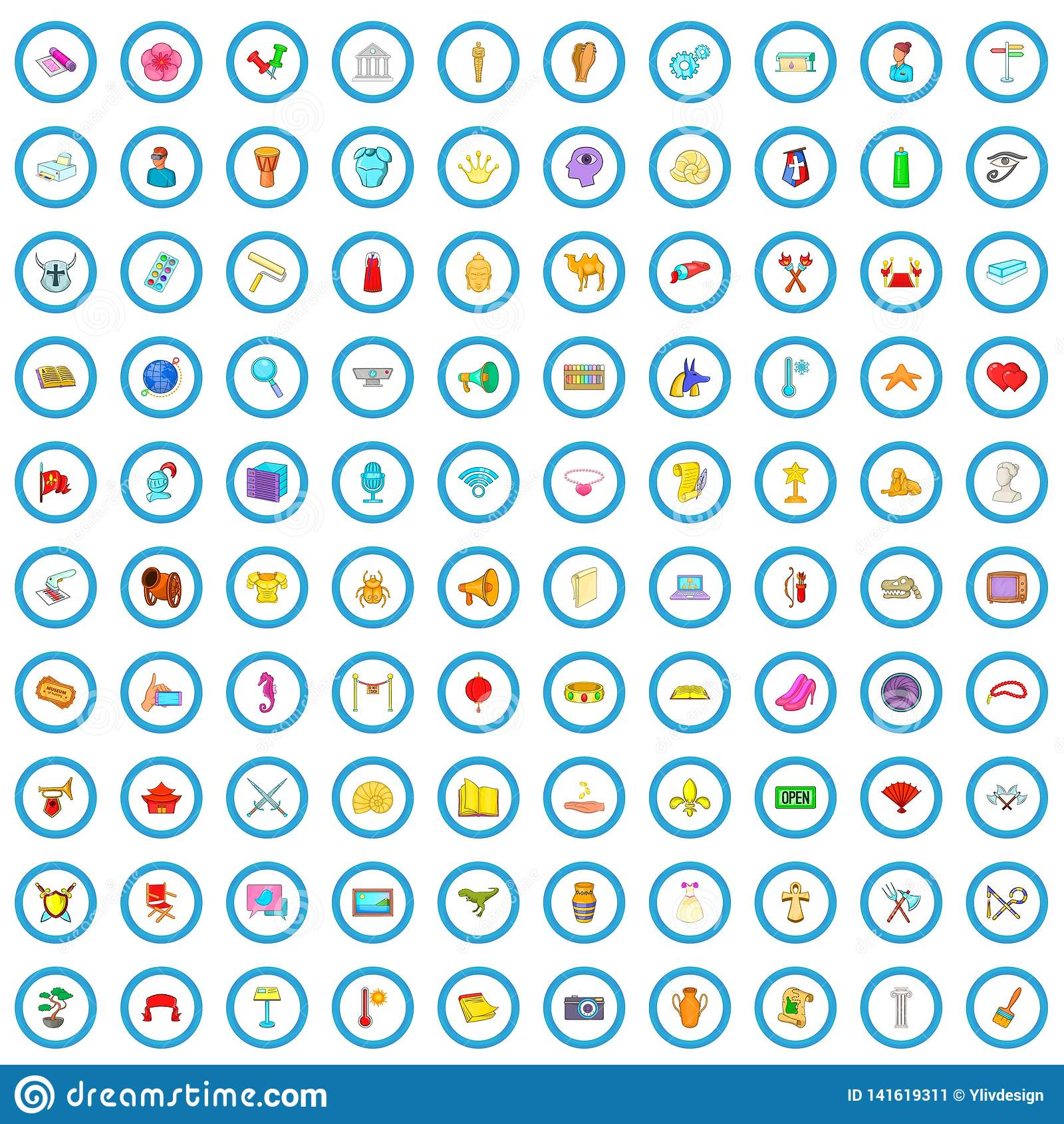 100 ícones ajustados, estilo da exposição dos desenhos animados