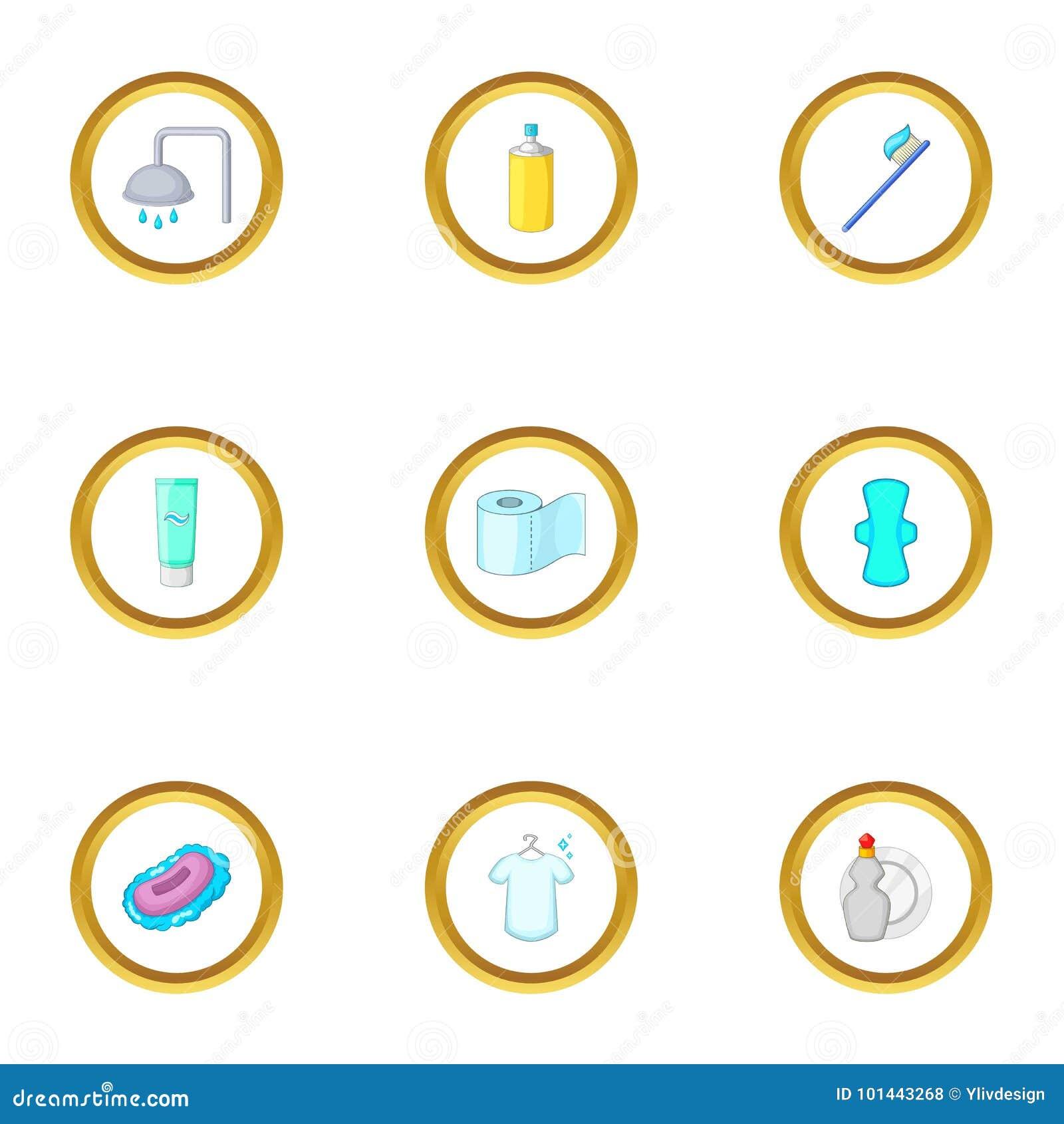 Icones Ajustados Estilo Da Higiene Pessoal Dos Desenhos Animados
