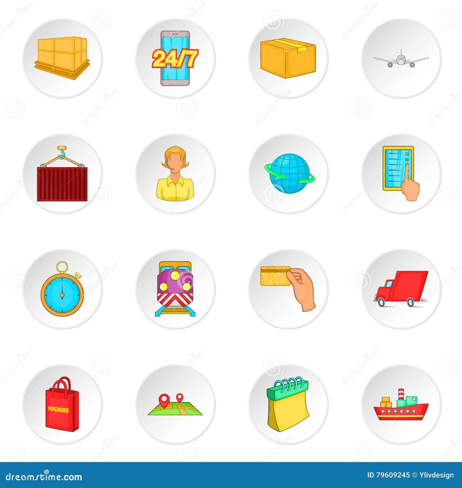 Ícones ajustados, estilo da logística dos desenhos animados