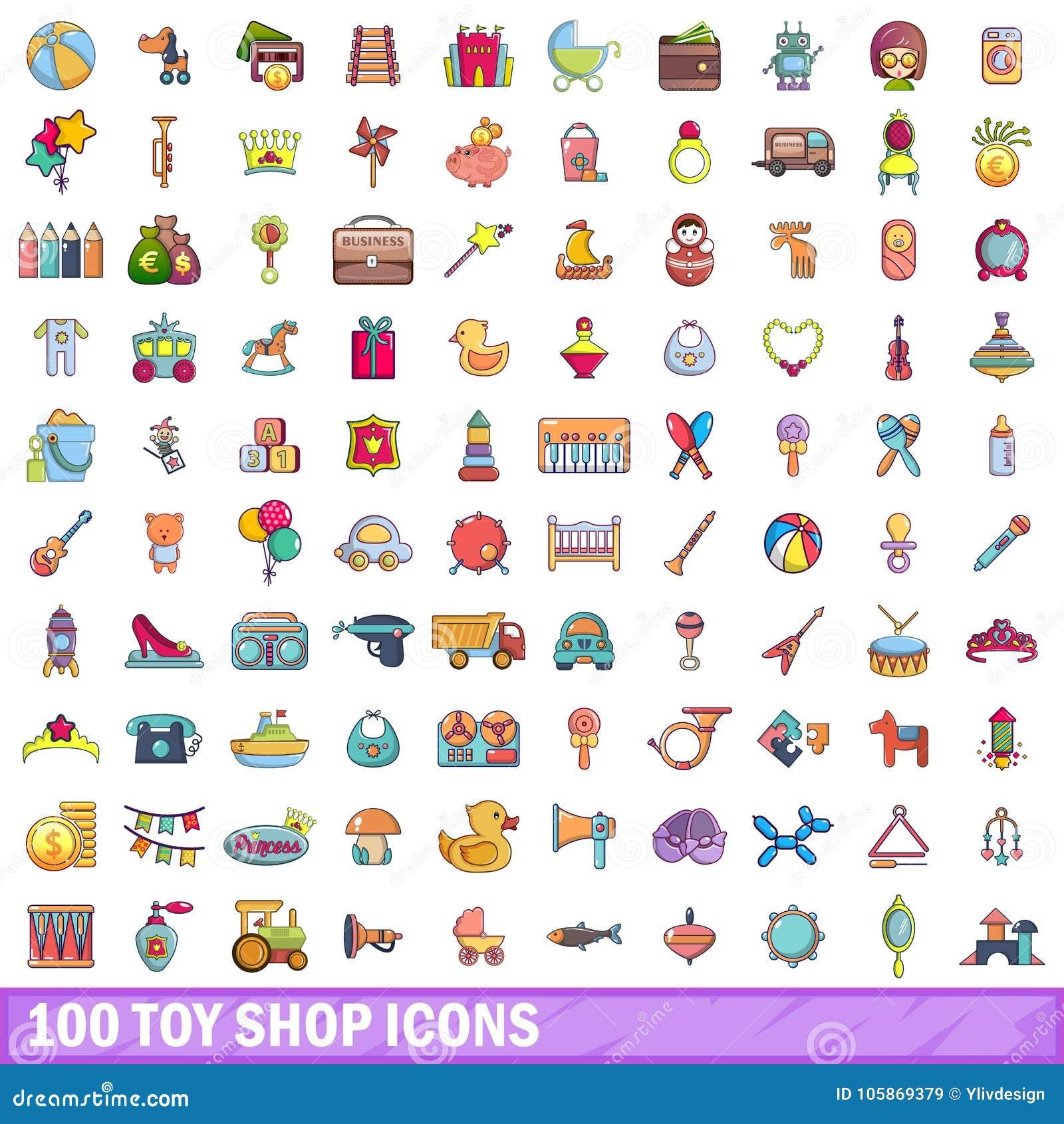 100 ícones ajustados, estilo da loja do brinquedo dos desenhos animados