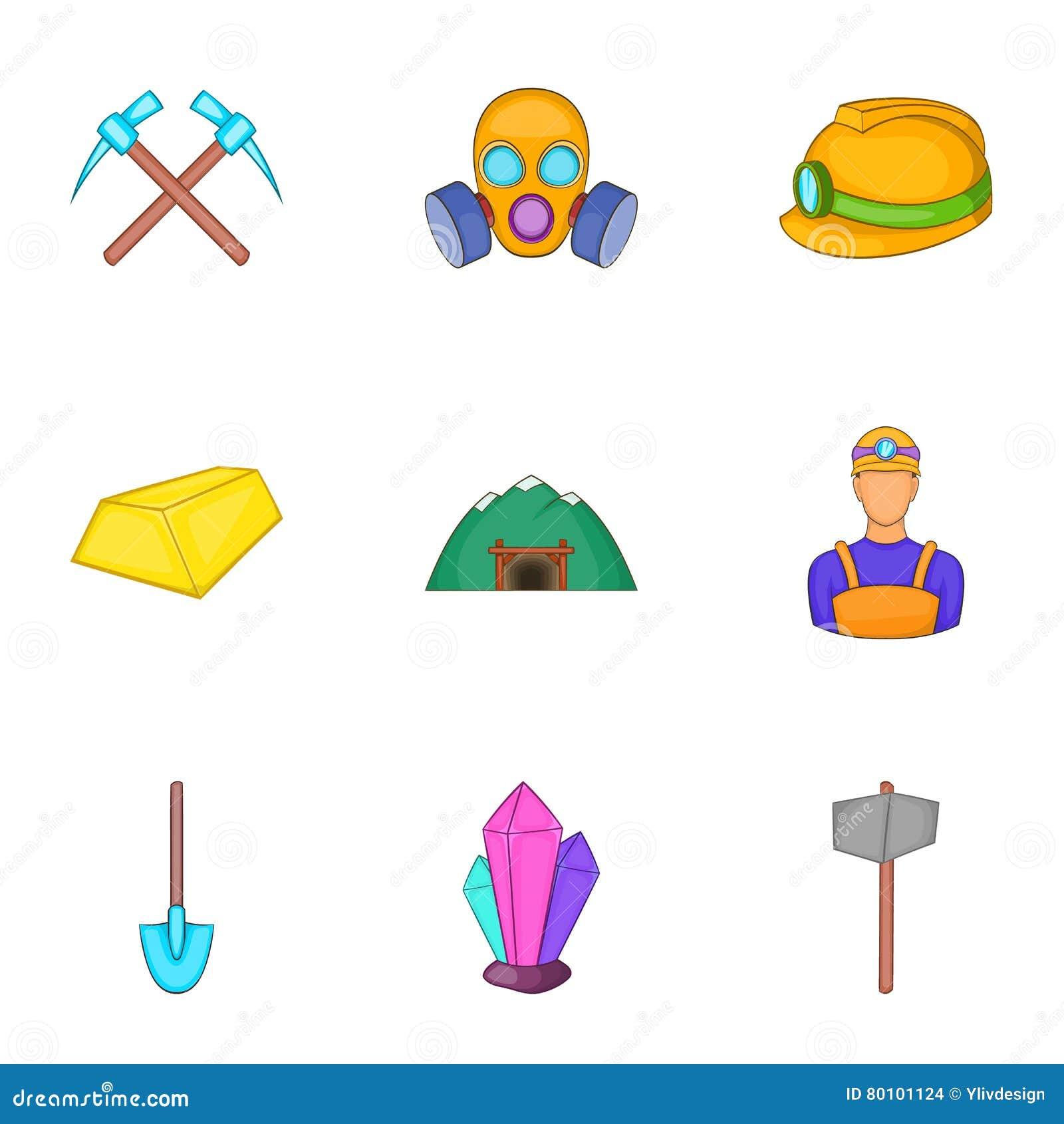 Ícones ajustados, estilo da mina de carvão dos desenhos animados