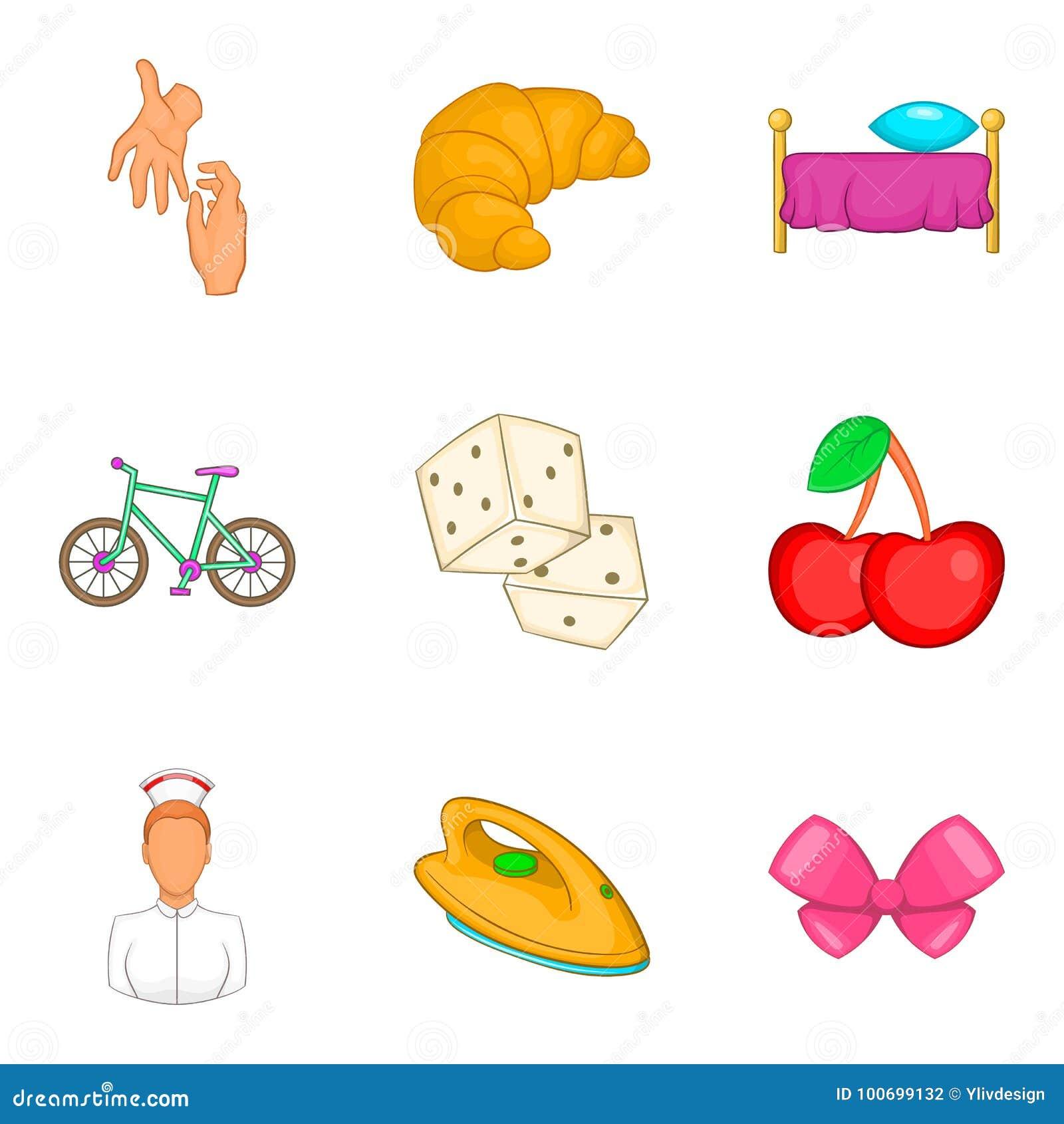 Icones Ajustados Estilo Da Mulher Da Baby Sitter Dos Desenhos