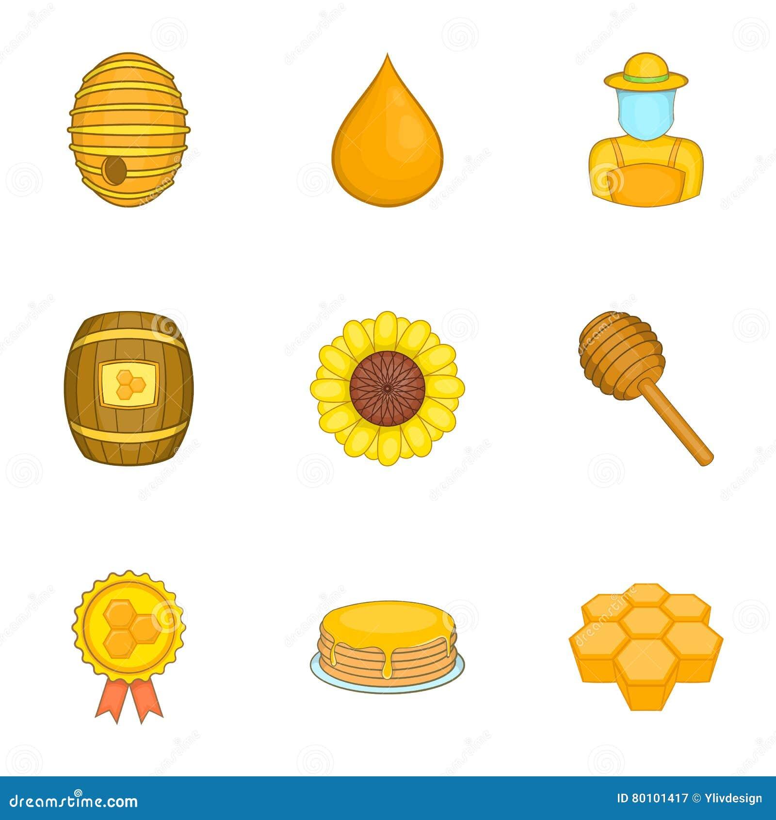 Ícones ajustados, estilo da produção do mel dos desenhos animados
