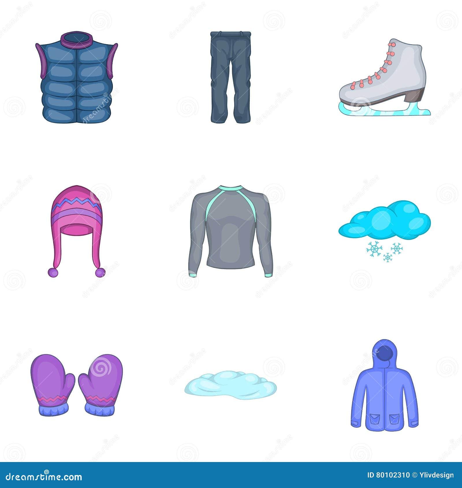 Ícones ajustados, estilo da roupa do inverno dos desenhos animados